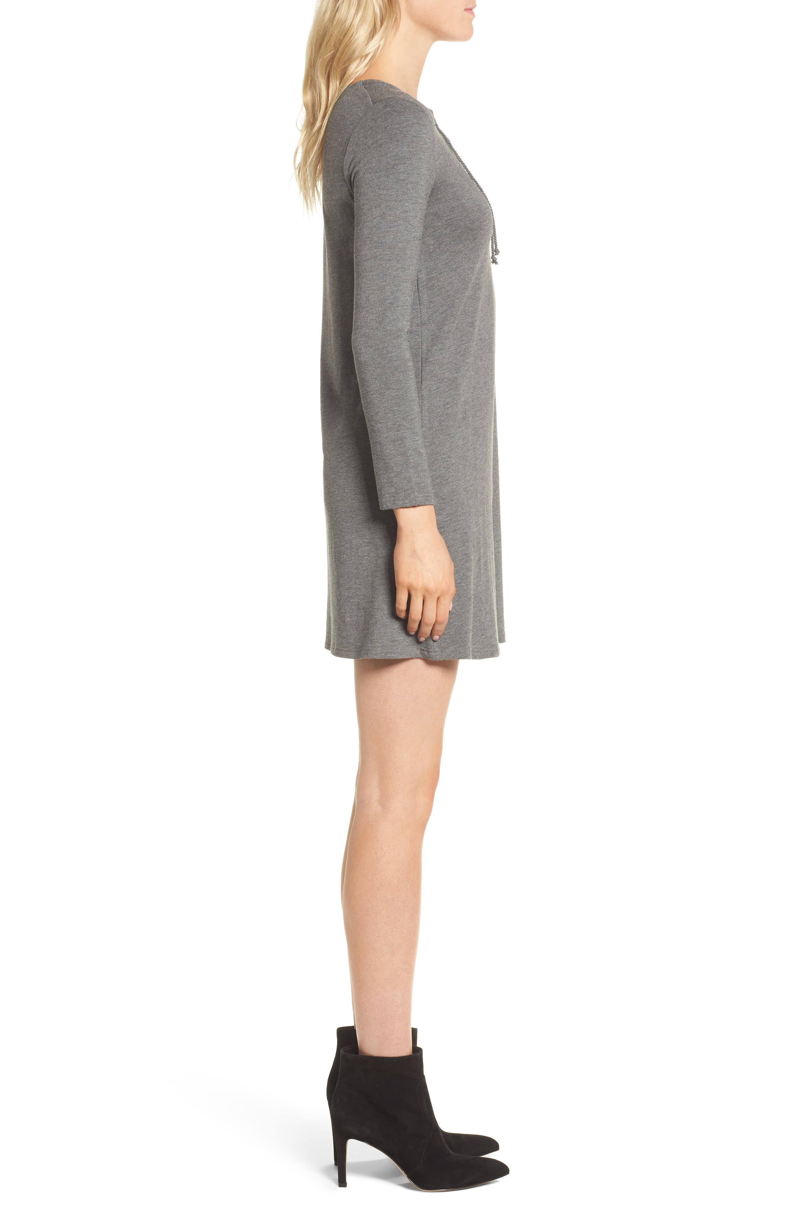 Celerina Lace-Up Minidress,                             Alternate thumbnail 3, color,                             Med Heather Grey