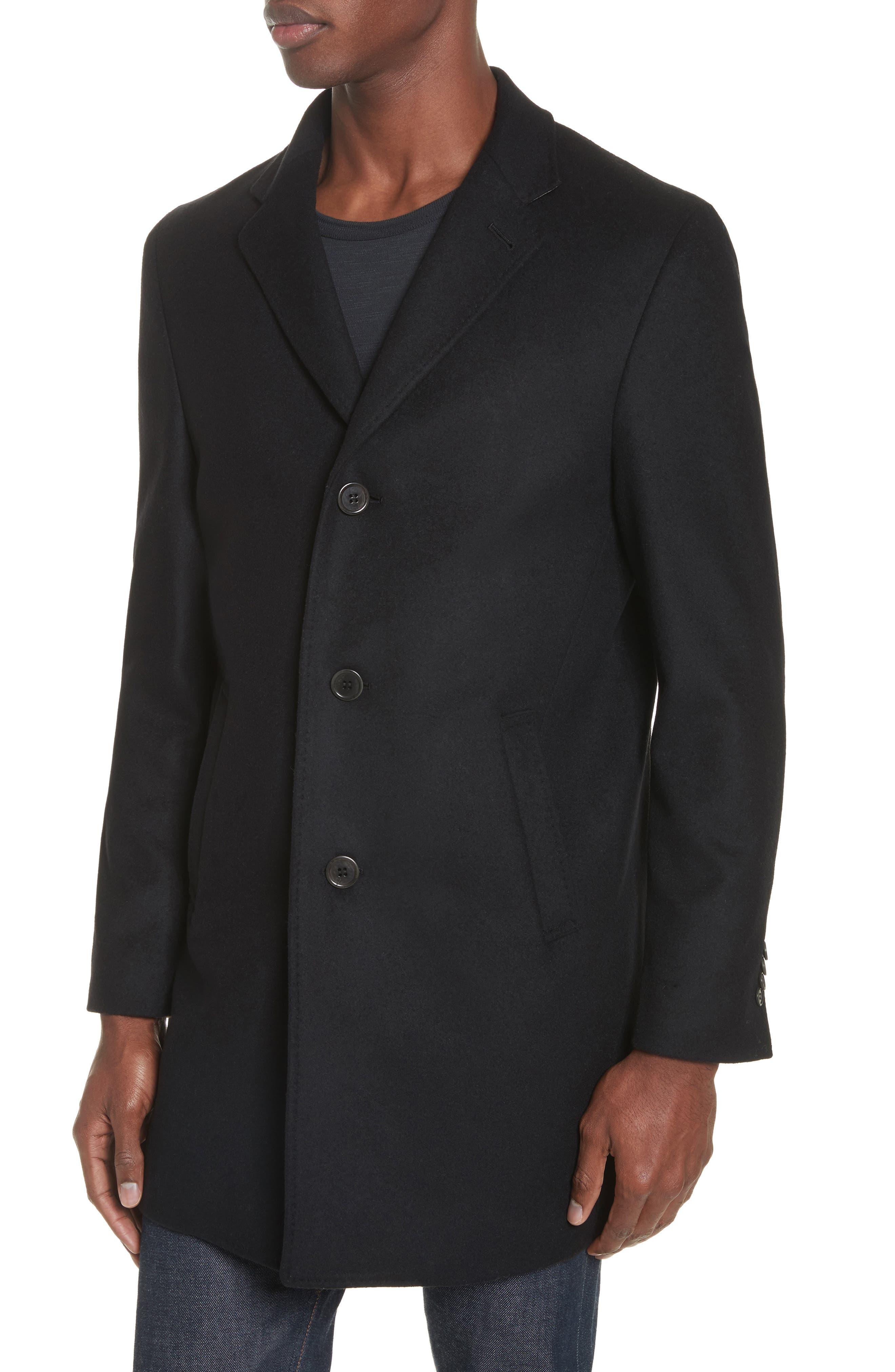 Walsh Wool Blend Topcoat,                             Alternate thumbnail 4, color,                             Black