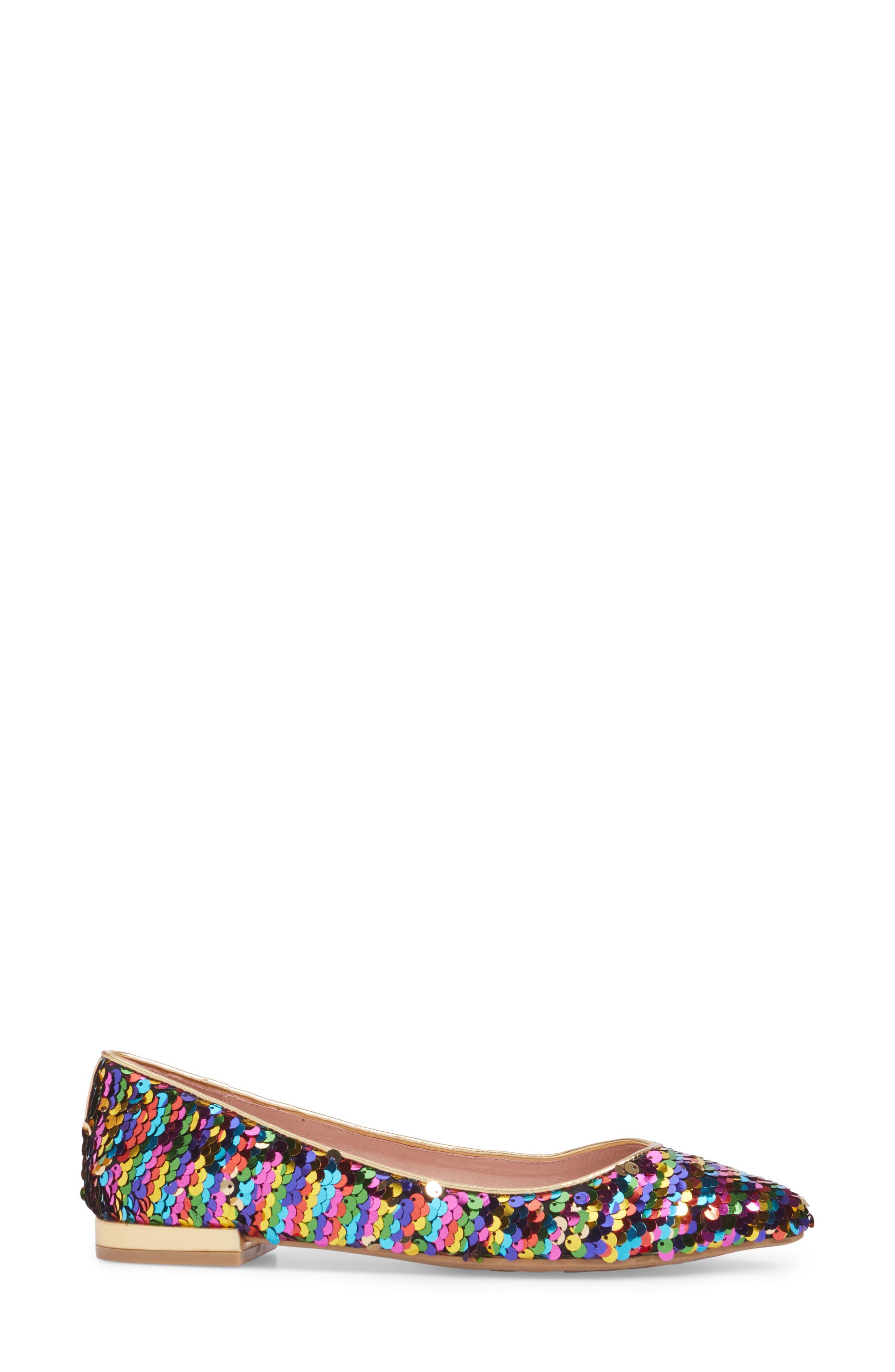 Gavin Pointy Toe Flat,                             Alternate thumbnail 3, color,                             Rainbow