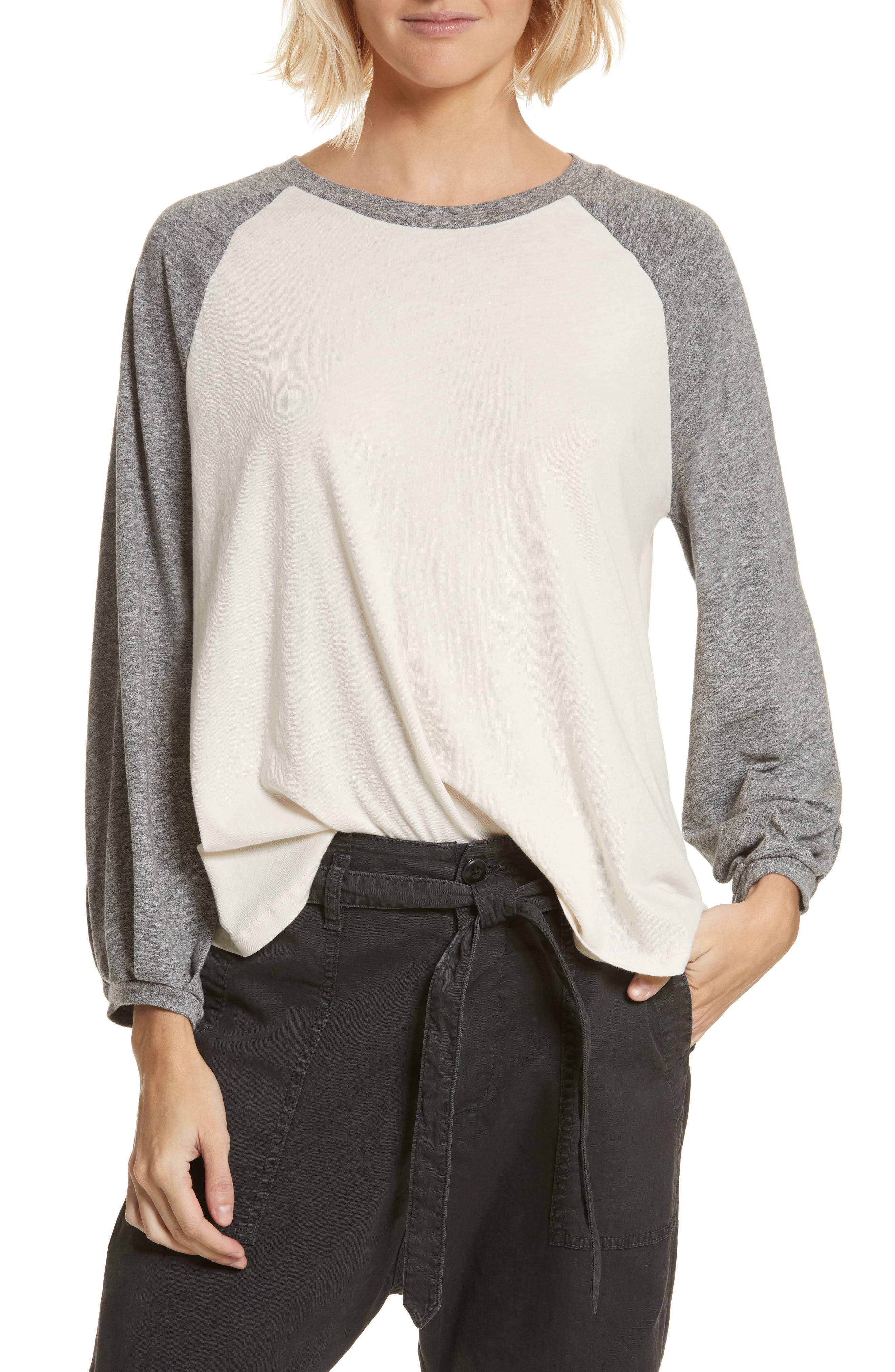 The Blouson Baseball Tee,                         Main,                         color, Washed White With Heather Grey