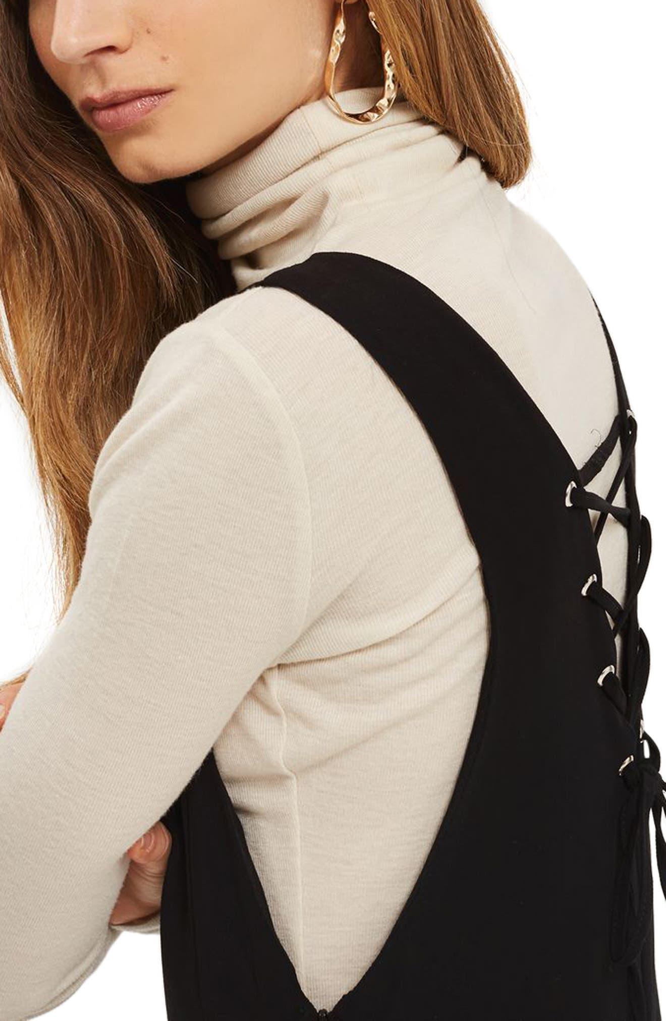 Lace Back Jumpsuit,                             Alternate thumbnail 3, color,                             Black