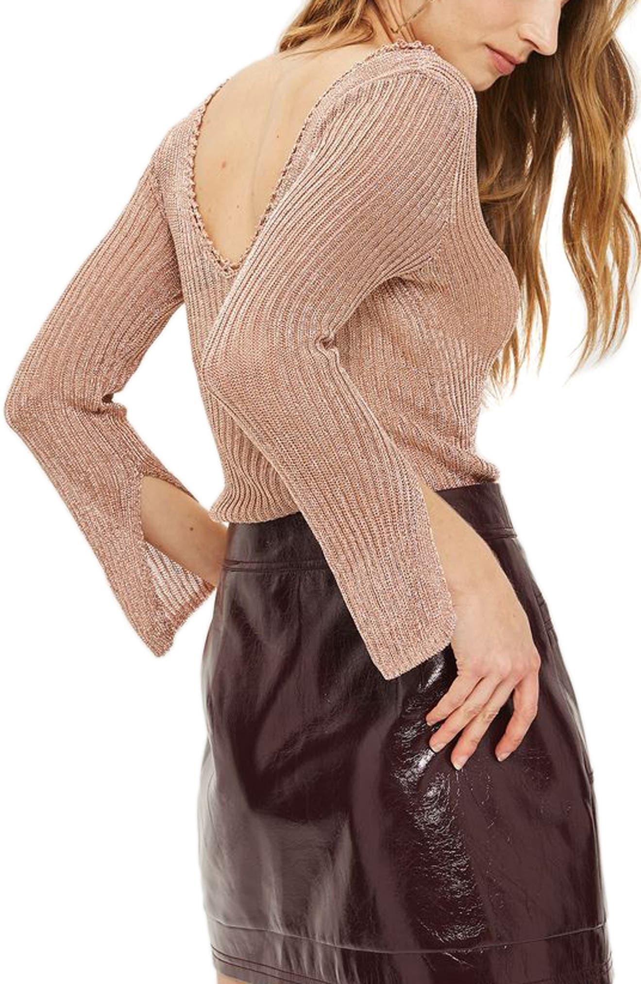Alternate Image 3  - Topshop Metallic Rib Sweater