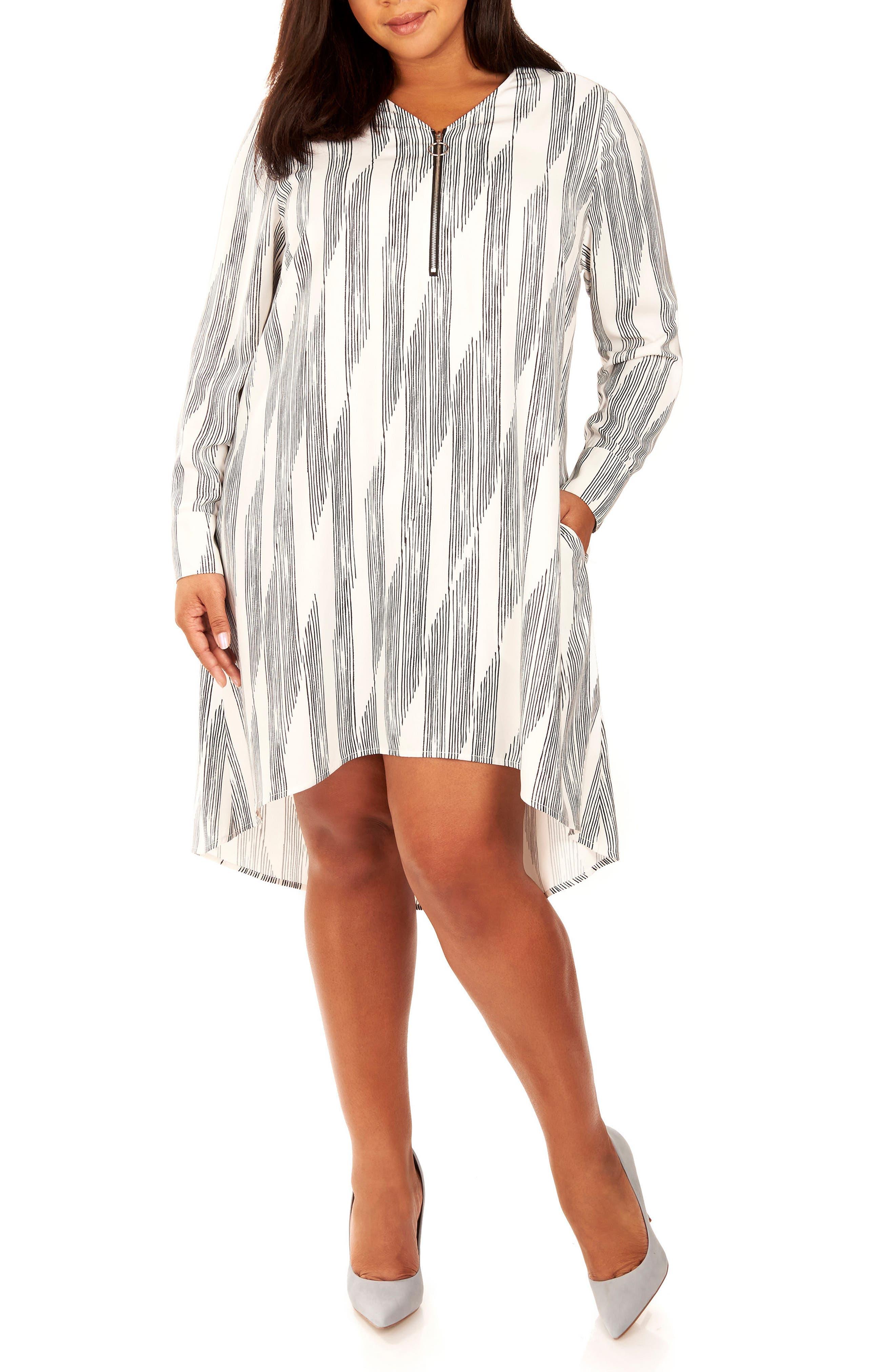 Zipper V-Neck Shift Dress,                             Main thumbnail 1, color,                             Pencil Lines