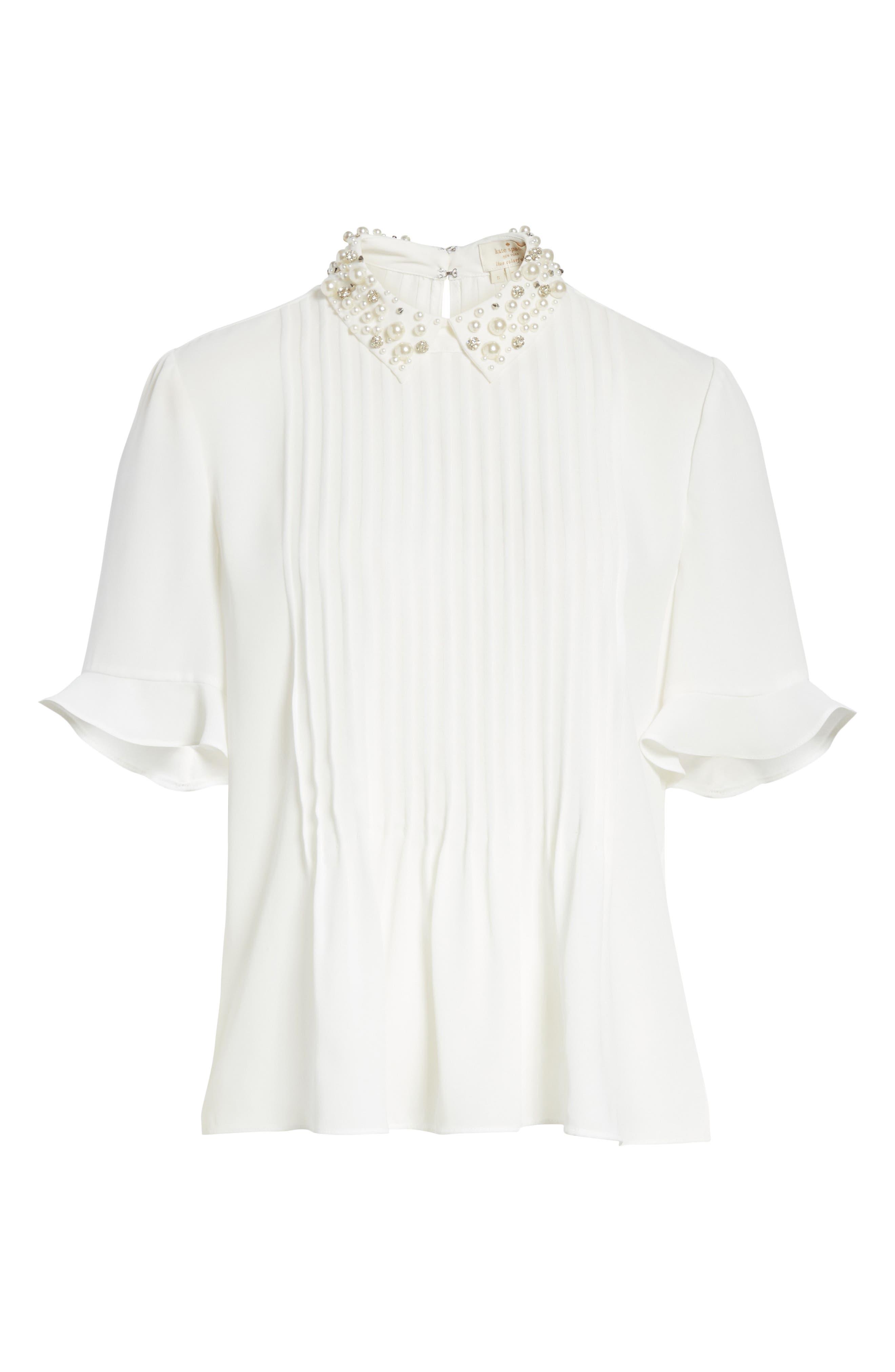 embellished collar shirt,                             Alternate thumbnail 6, color,                             Cream