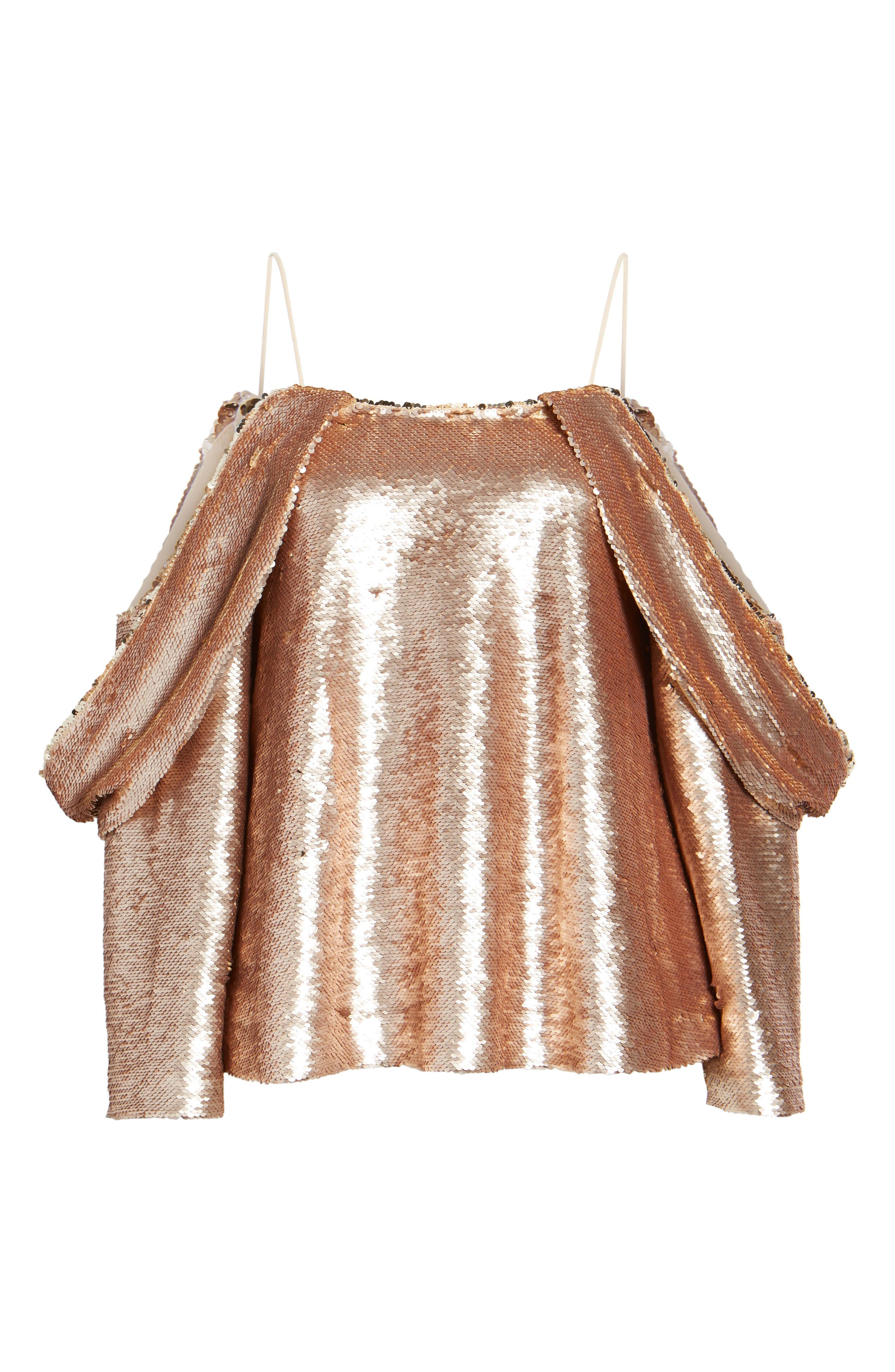 Revolution Off the Shoulder Sequin Top,                             Alternate thumbnail 6, color,                             Champagne Blush