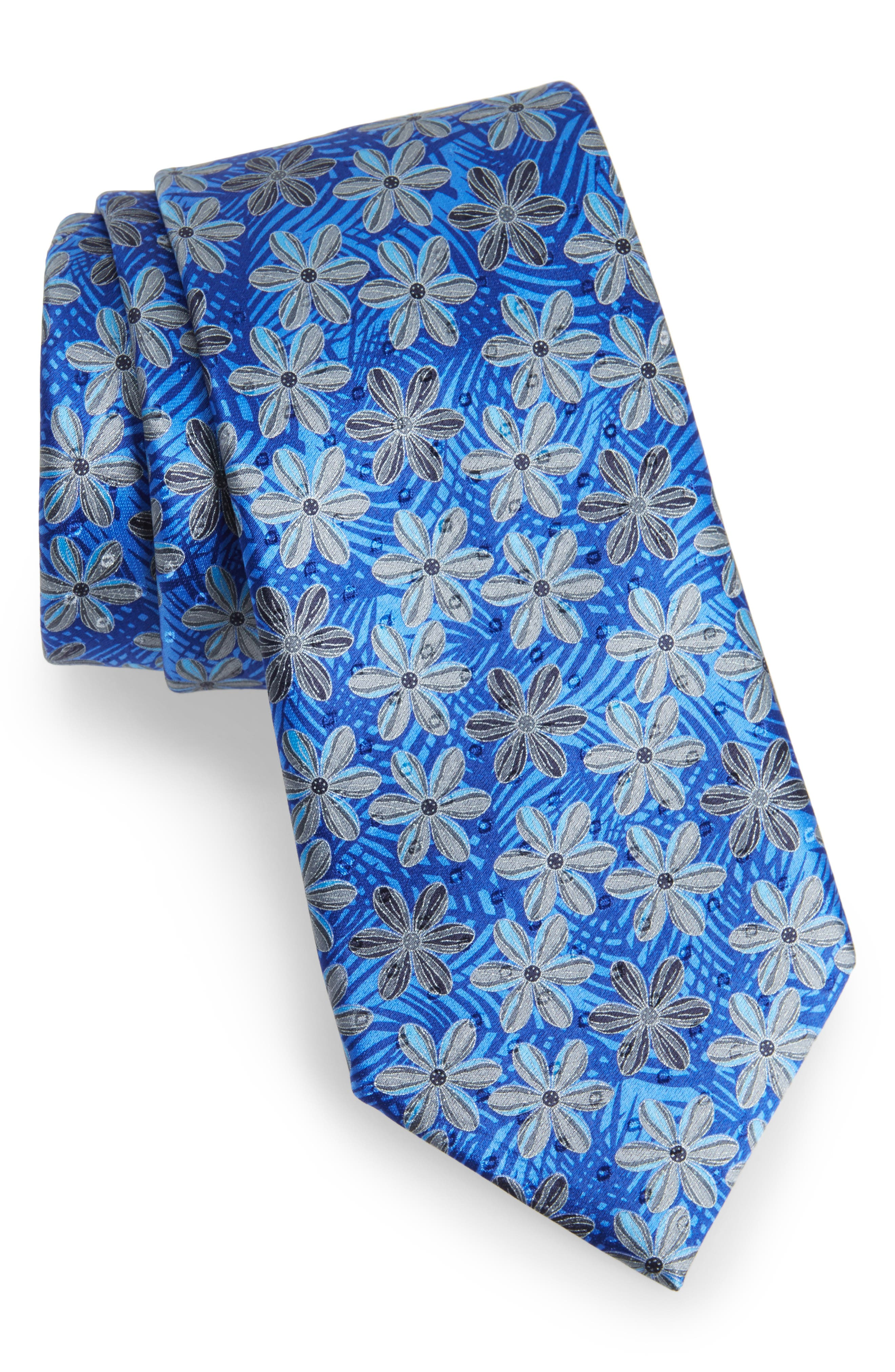 Floral Silk Tie,                             Main thumbnail 1, color,                             Navy
