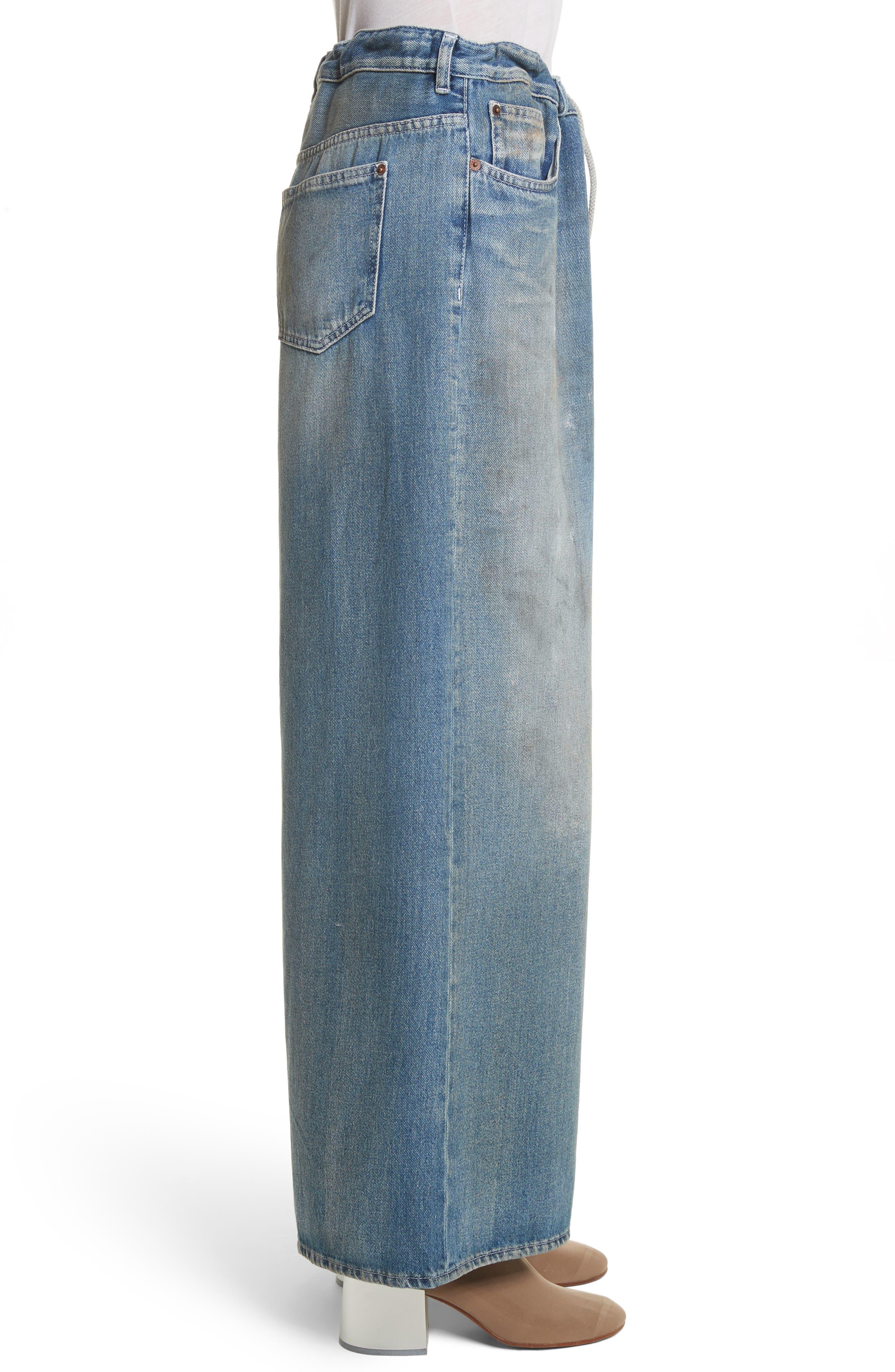 Drawstring Wide Leg Jeans,                             Alternate thumbnail 3, color,                             Indigo Stone Wash