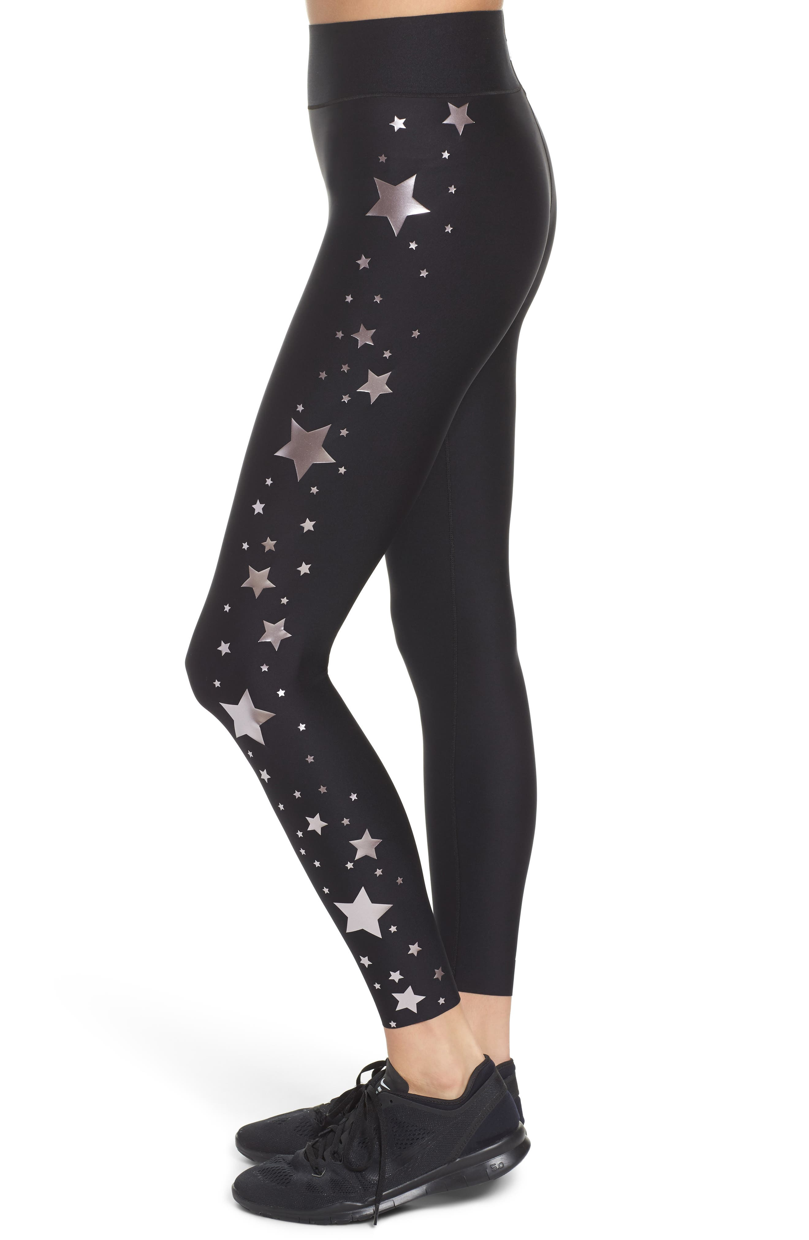 Lux Stellar High Waist Leggings,                             Alternate thumbnail 4, color,                             Nero Rose
