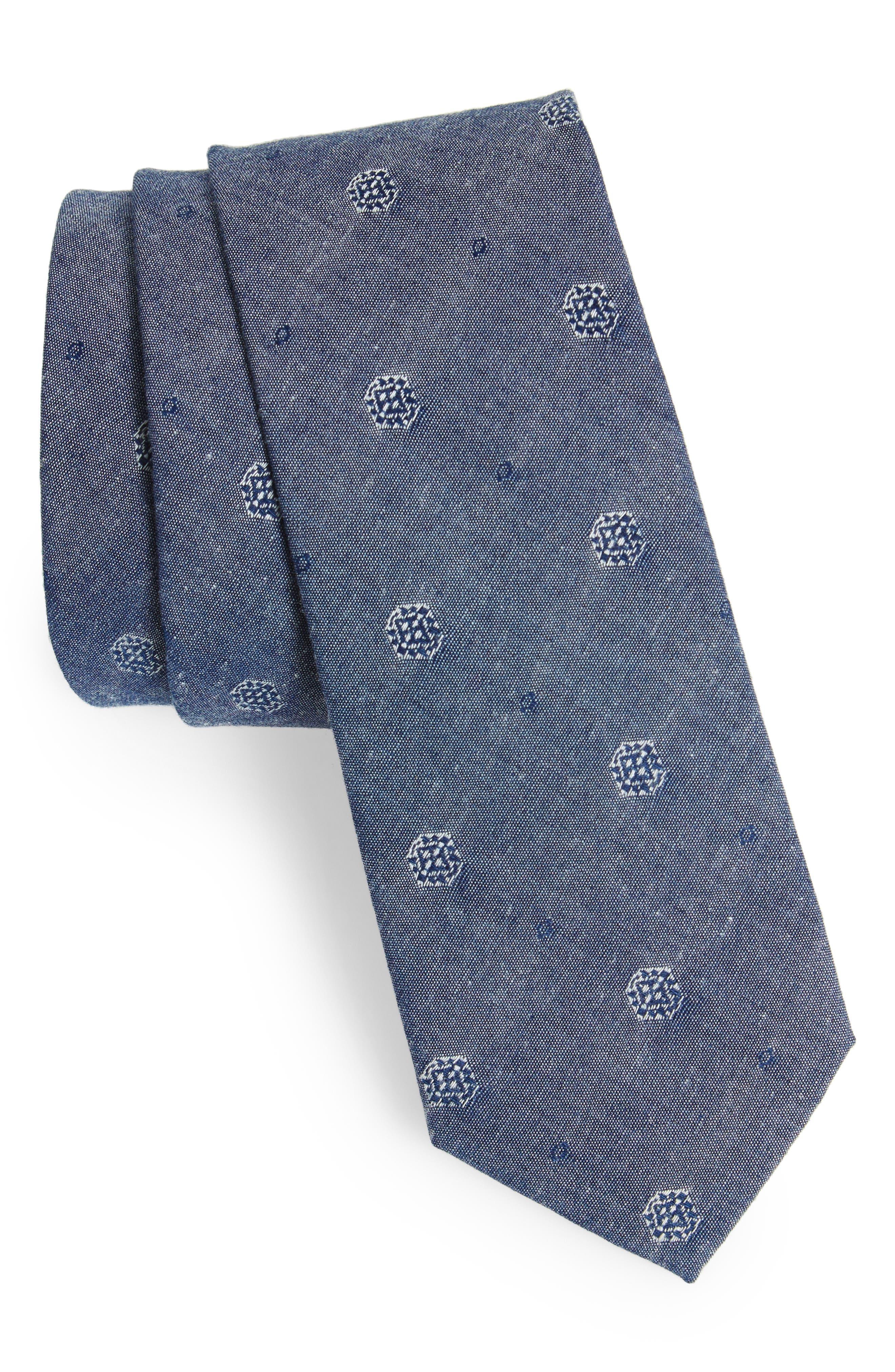 Medallion Cotton Tie,                         Main,                         color, Navy