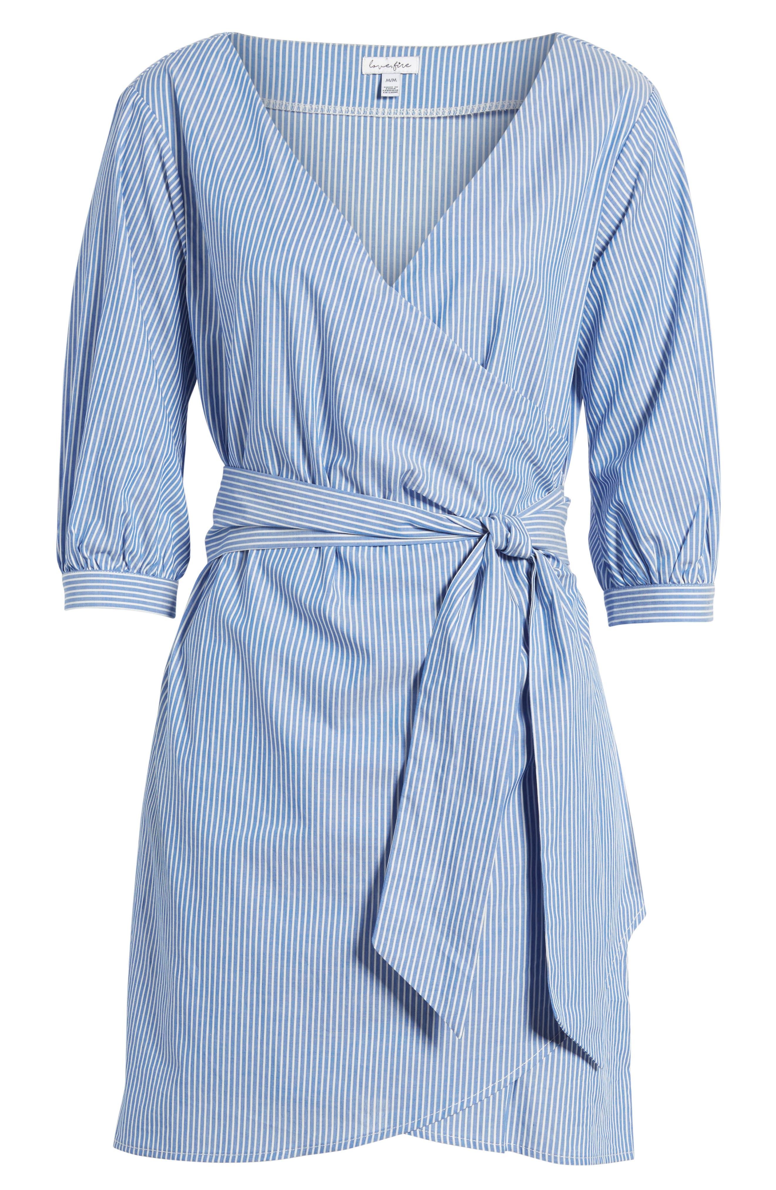 Cotton Poplin Wrap Dress,                             Alternate thumbnail 6, color,                             Blue White Stripe