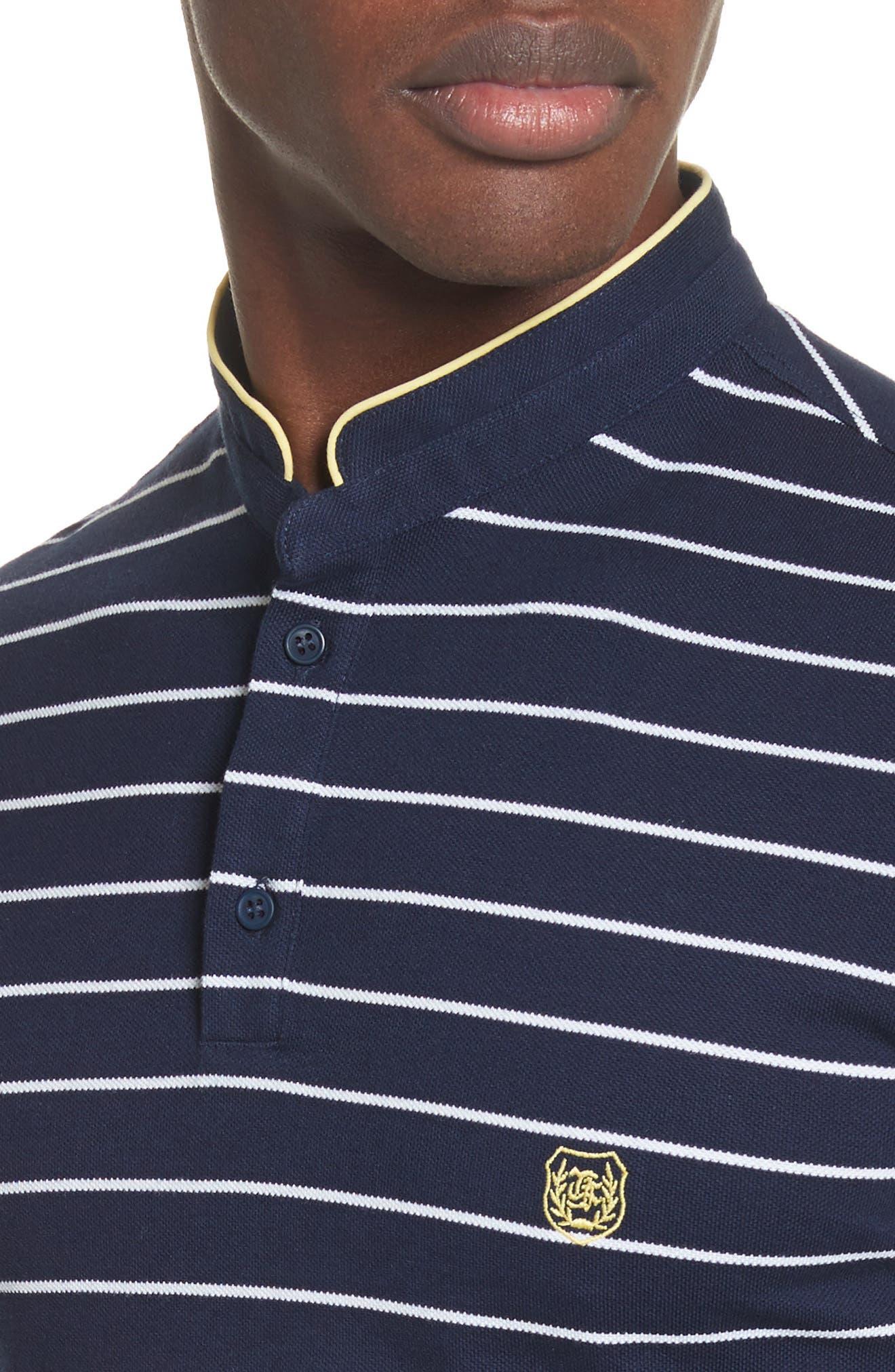 Stripe Officer Polo Shirt,                             Alternate thumbnail 4, color,                             Navy