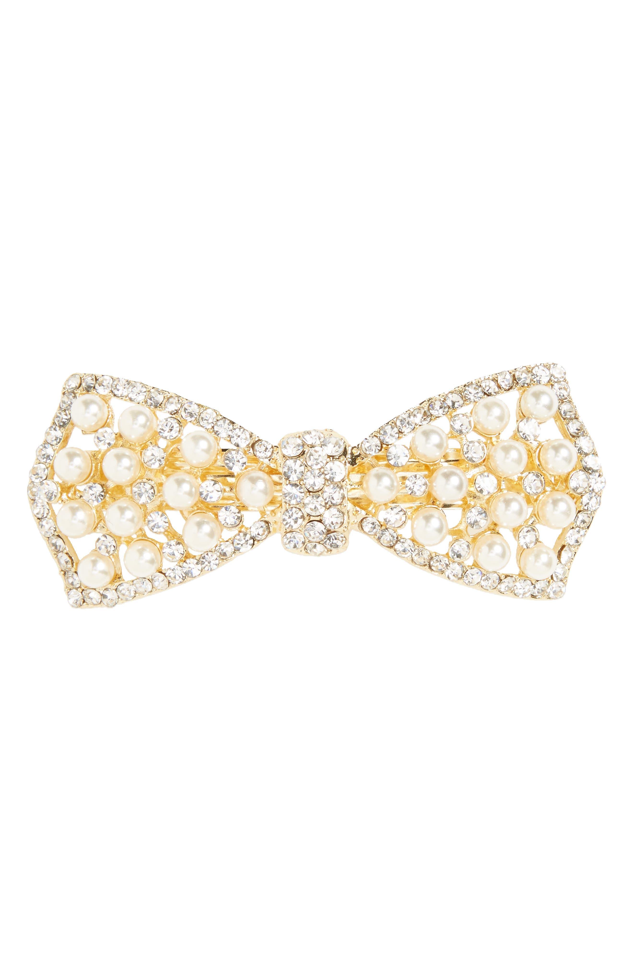 Imitation Pearl & Crystal Barrette,                         Main,                         color, Gold Multi