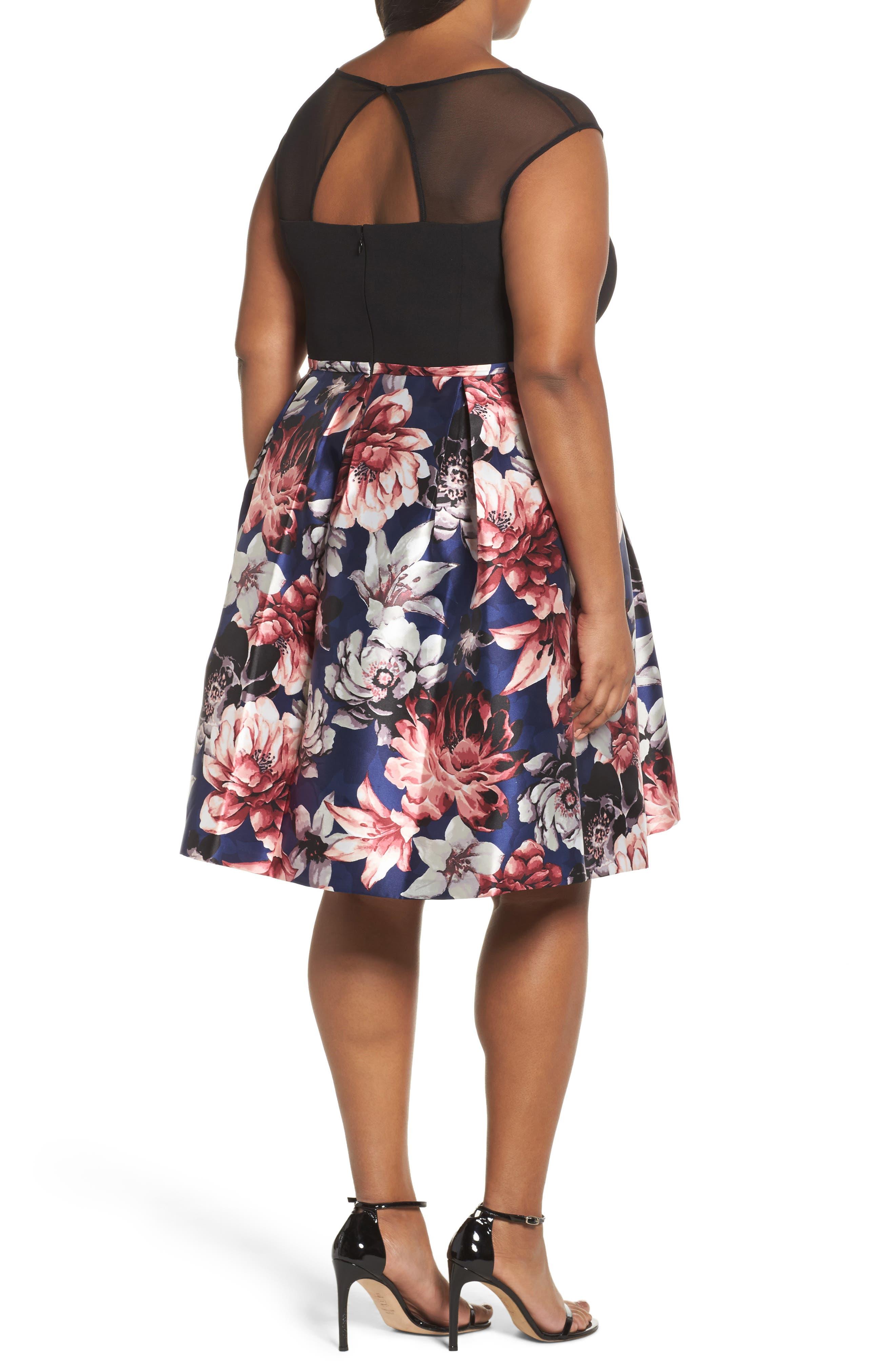 Illusion Neck Floral Fit & Flare Dress,                             Alternate thumbnail 2, color,                             Multi