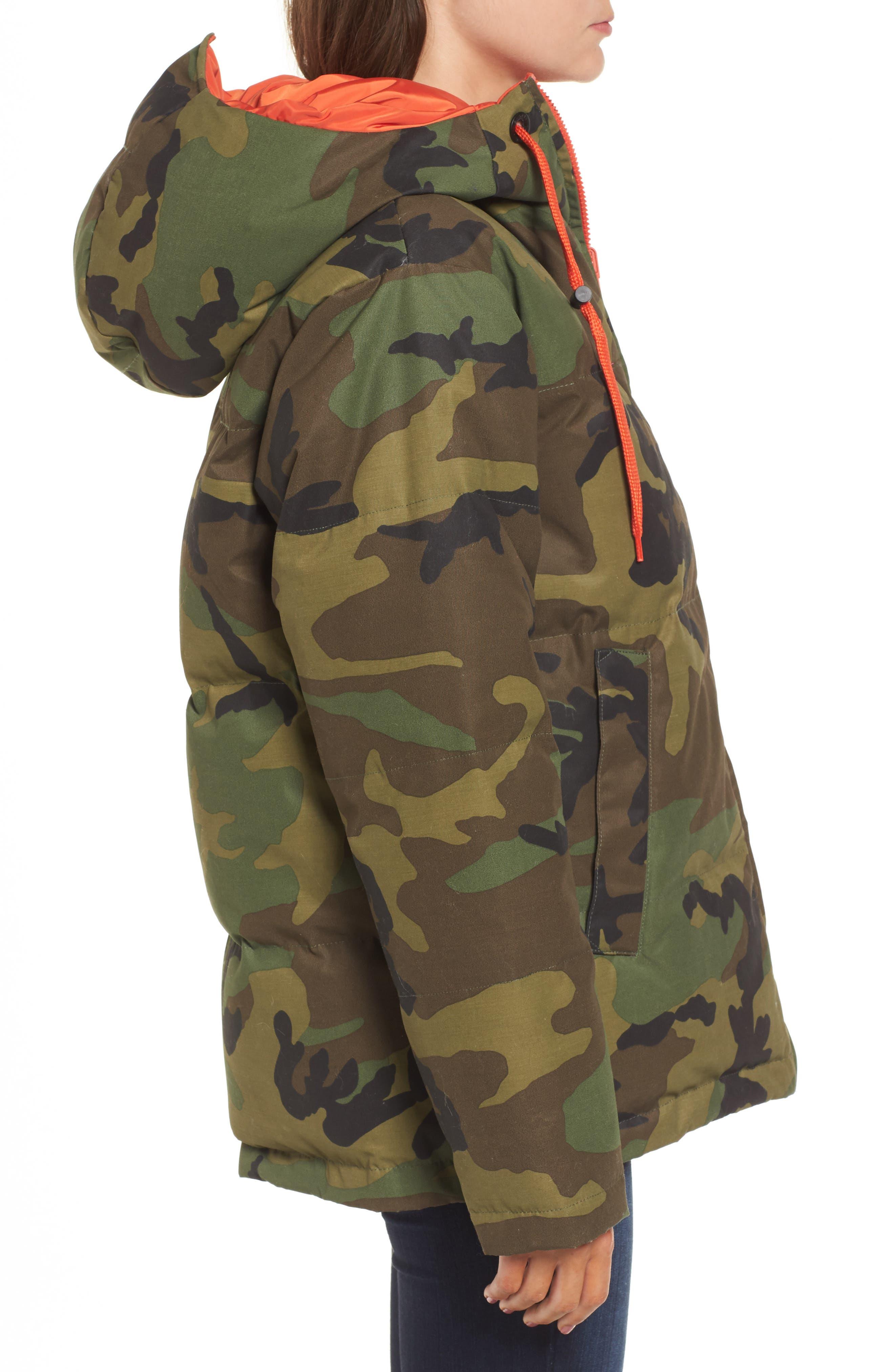 Reversible Puffer Jacket,                             Alternate thumbnail 5, color,                             Camo/ Orange