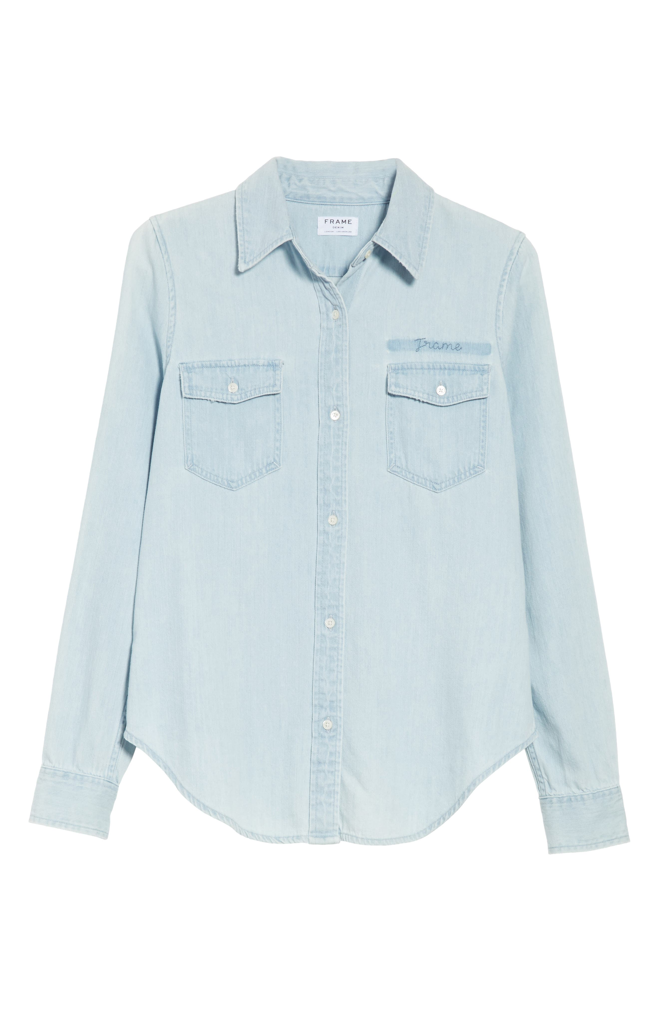 Denim Military Shirt,                             Alternate thumbnail 7, color,                             Kensington
