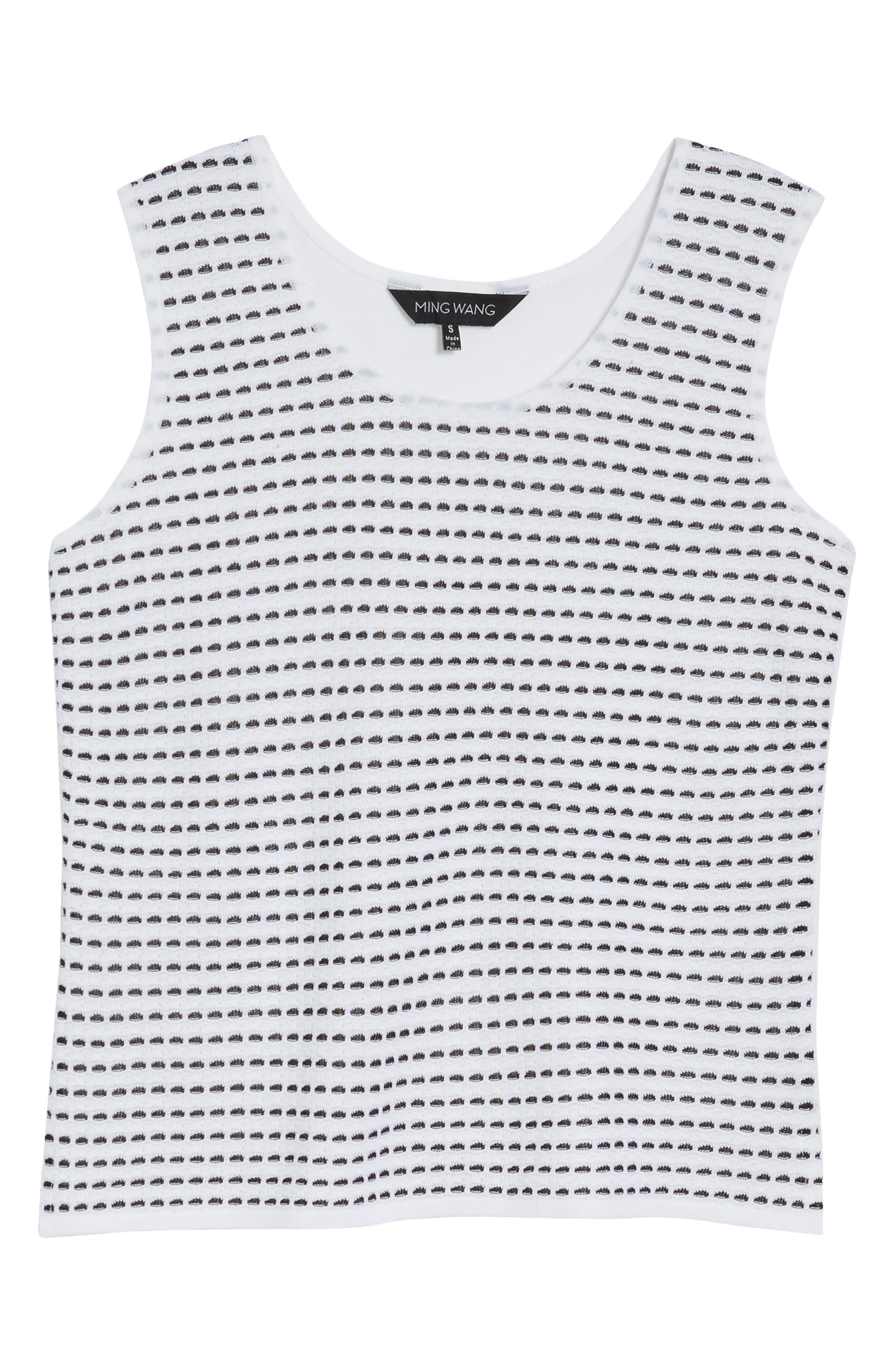 Scoop Neck Jacquard Knit Tank,                             Alternate thumbnail 6, color,                             White/ Black
