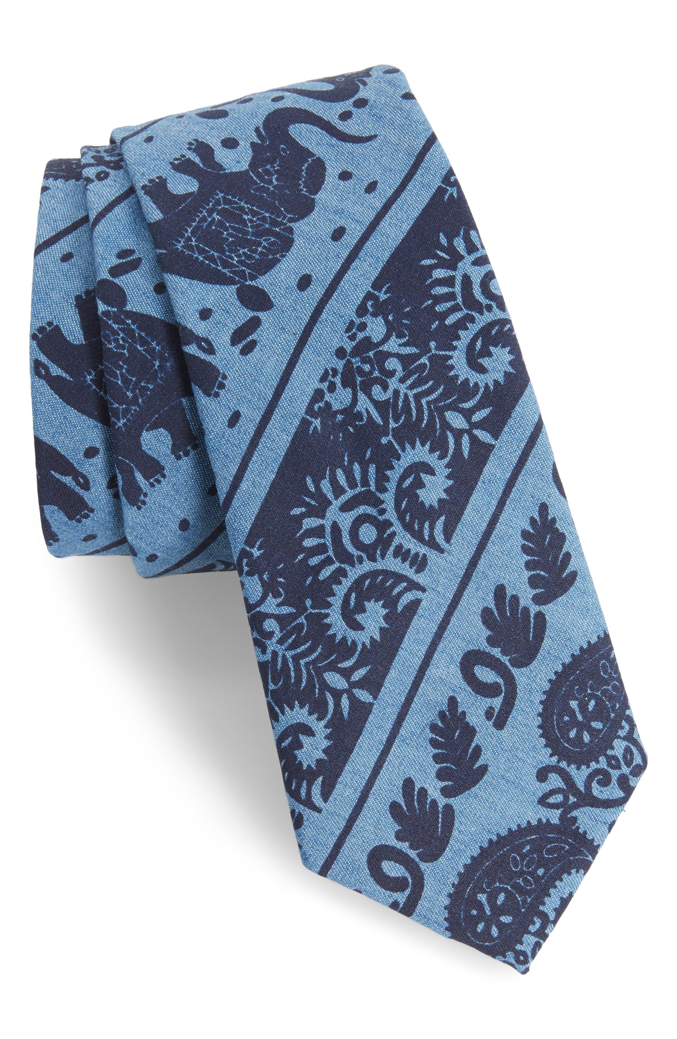 1901 Ikat Denim Skinny Tie
