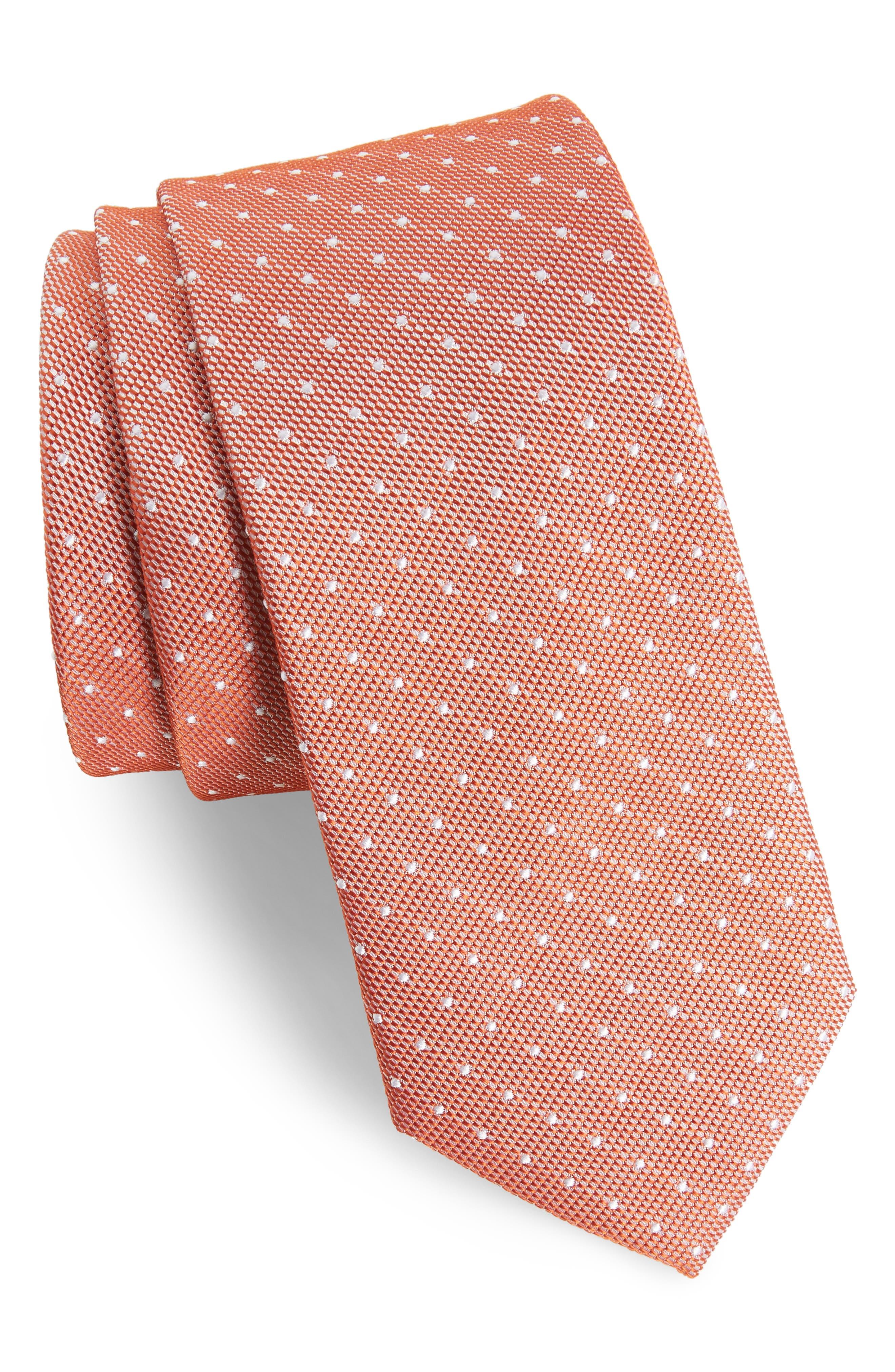 Paseo Dot Silk Skinny Tie,                         Main,                         color, Orange