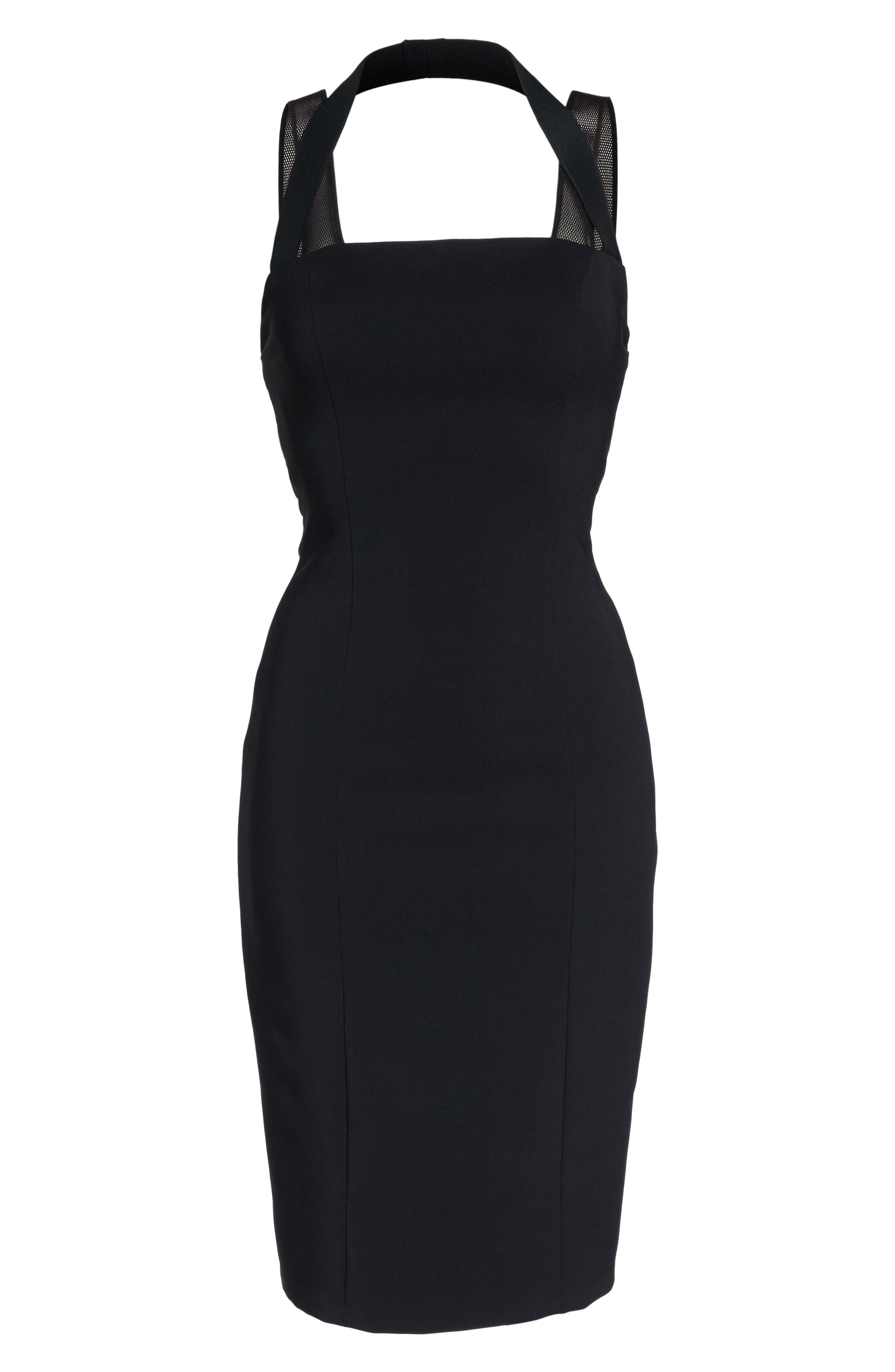 Kendra Elastic Strap Low Back Sheath Dress,                             Alternate thumbnail 6, color,                             Black