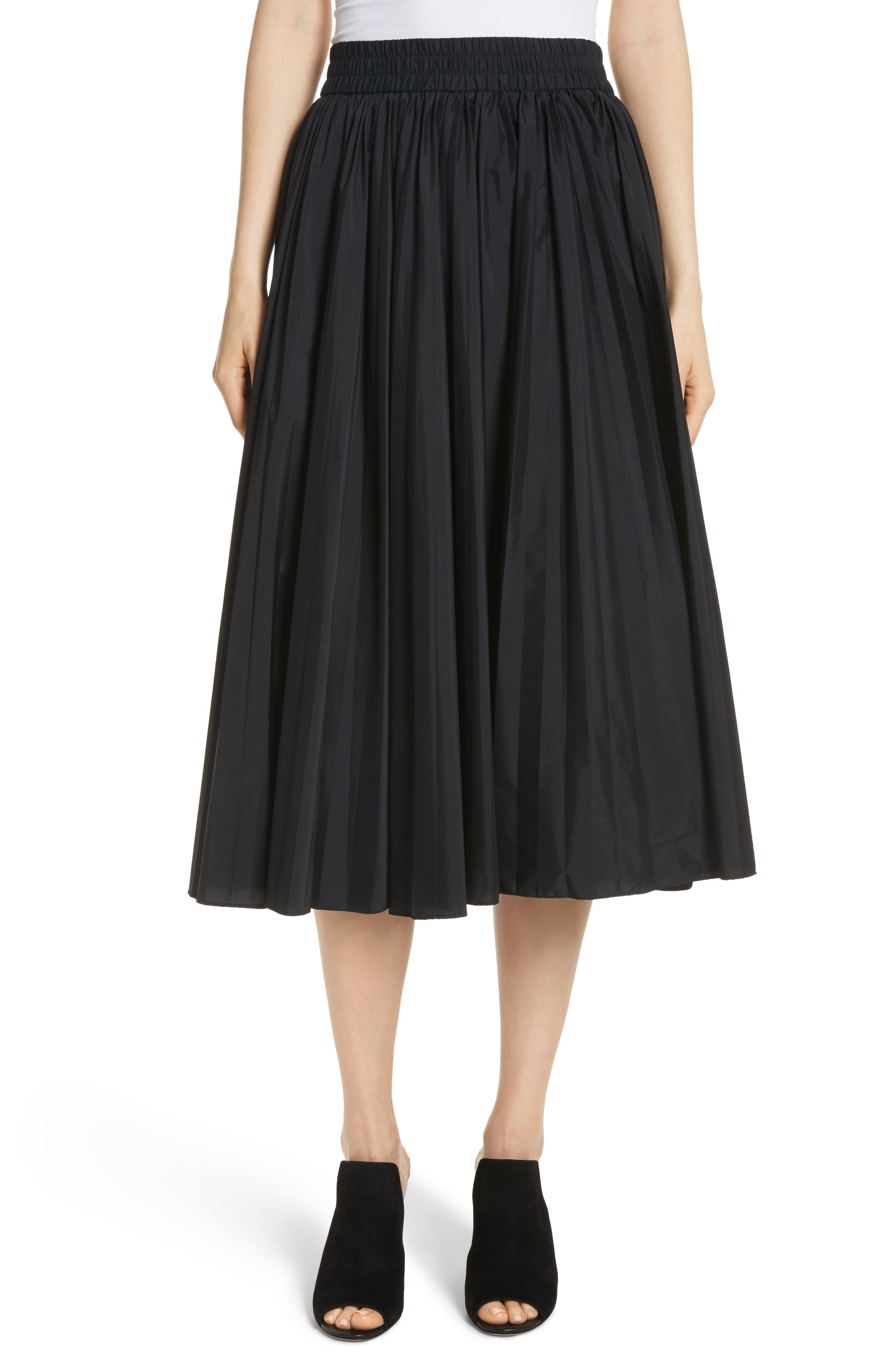 Pleated Midi Skirt,                         Main,                         color, Black