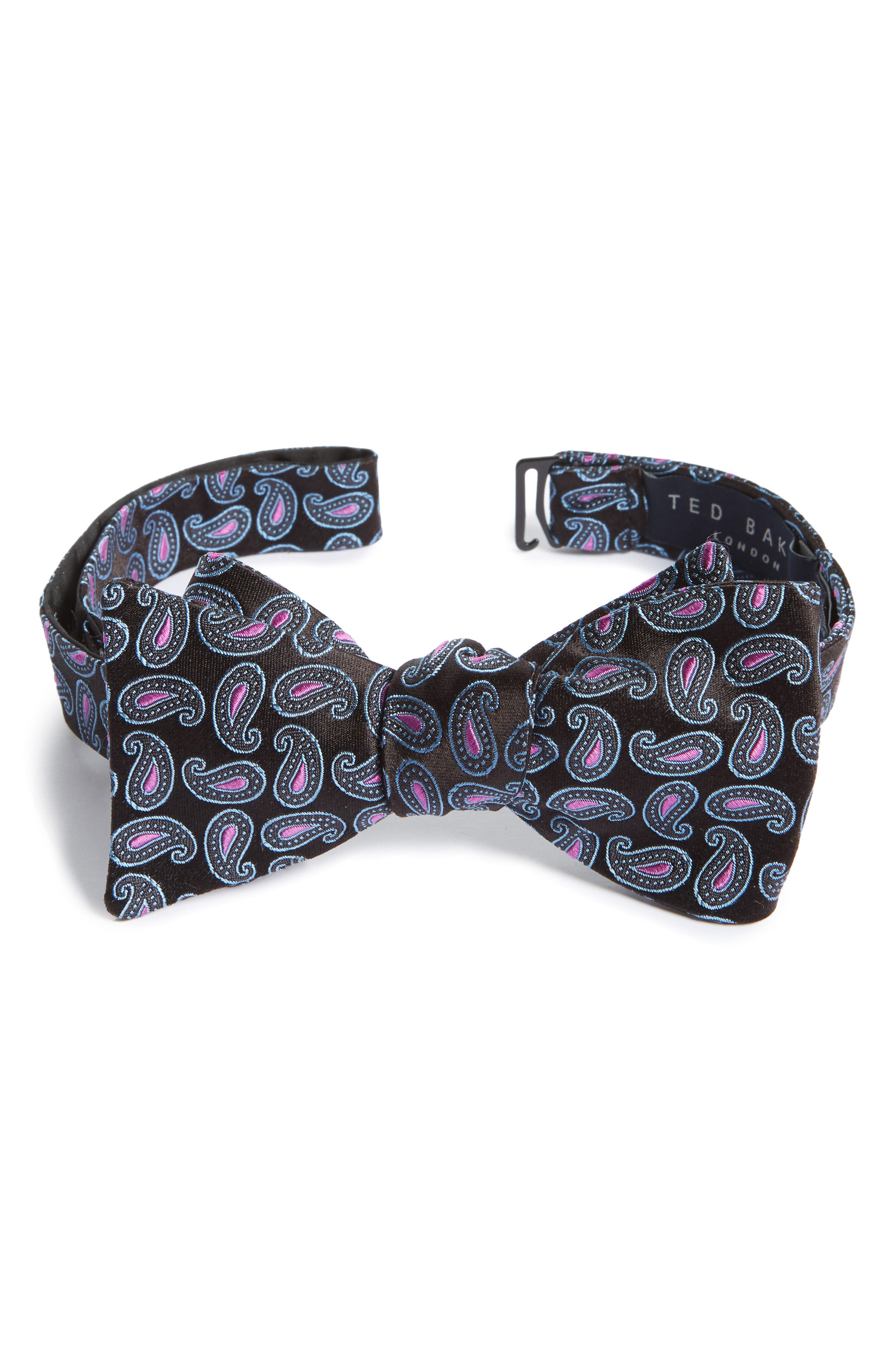 Paisley Silk Bow Tie,                         Main,                         color, Black