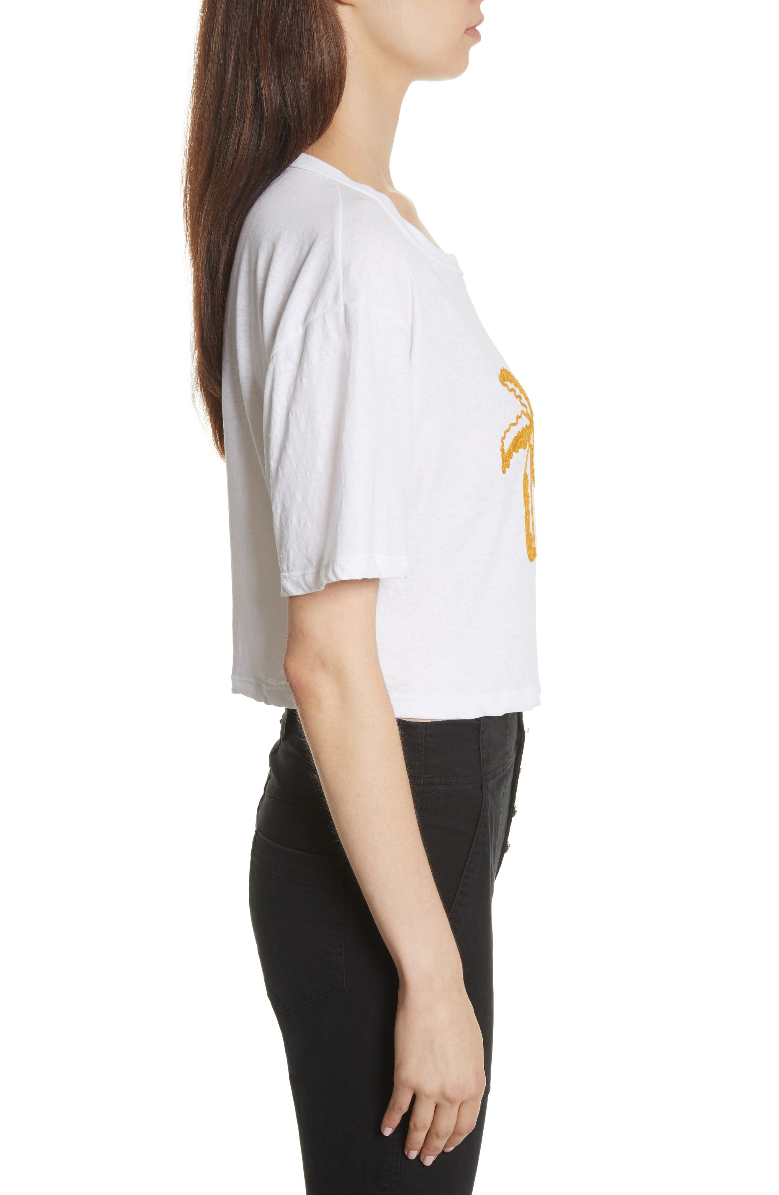 Teagan Palm Embroidered Crop Tee,                             Alternate thumbnail 2, color,                             White