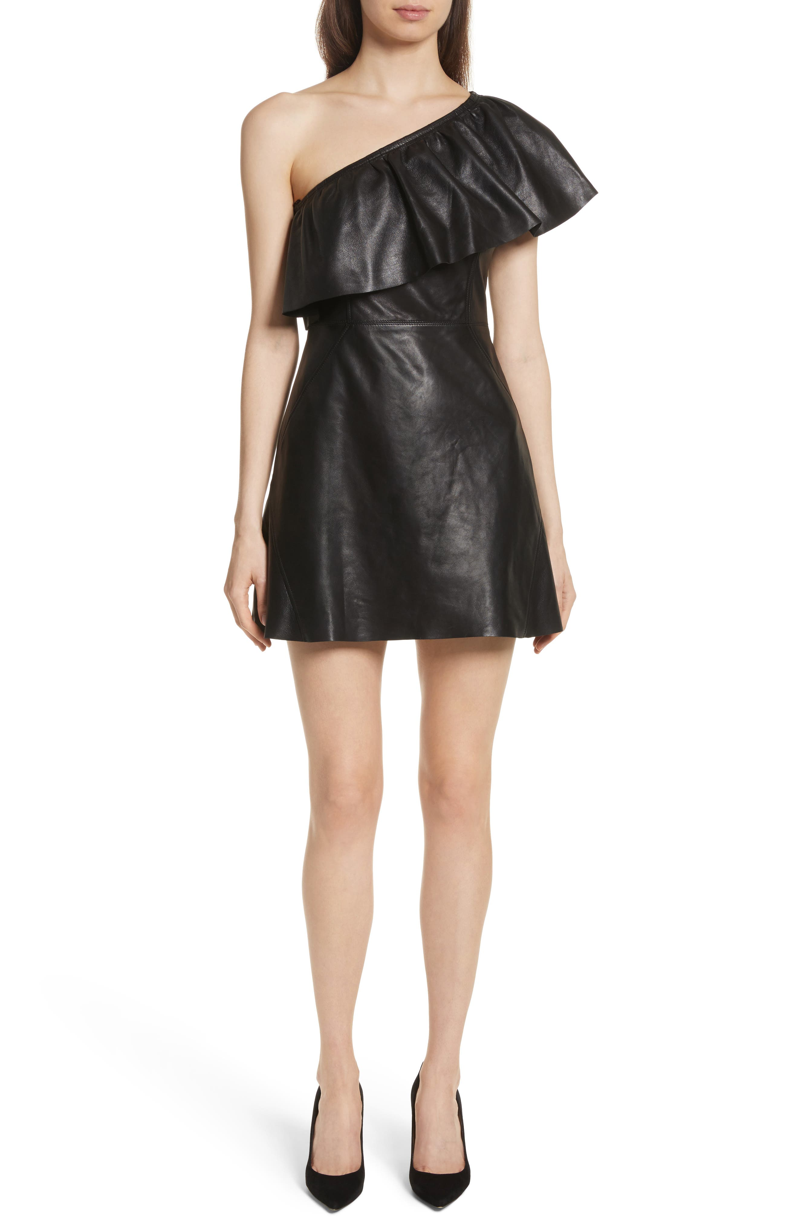 Kahlo Ruffle One-Shoulder Leather Dress,                             Main thumbnail 1, color,                             Black