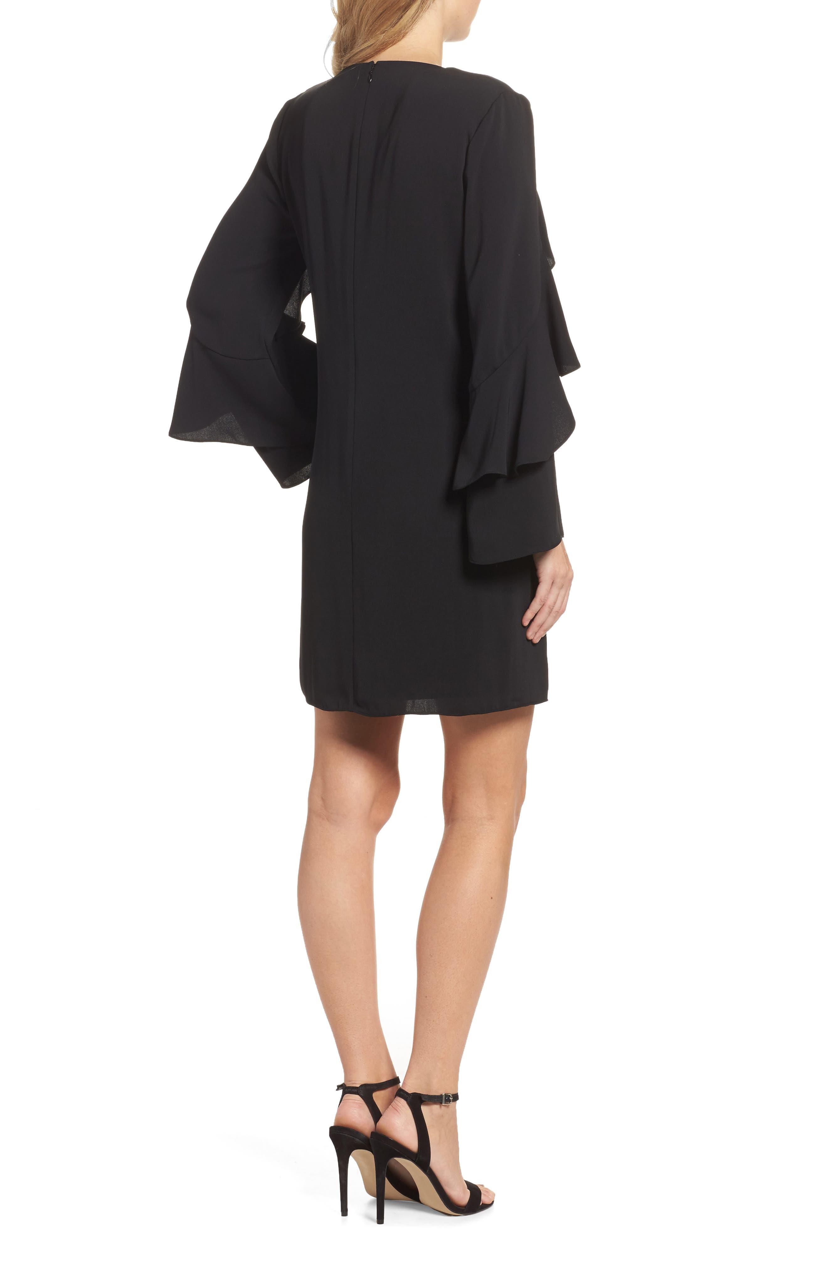 Sherryl Ruffle Sleeve Shift Dress,                             Alternate thumbnail 2, color,                             Black