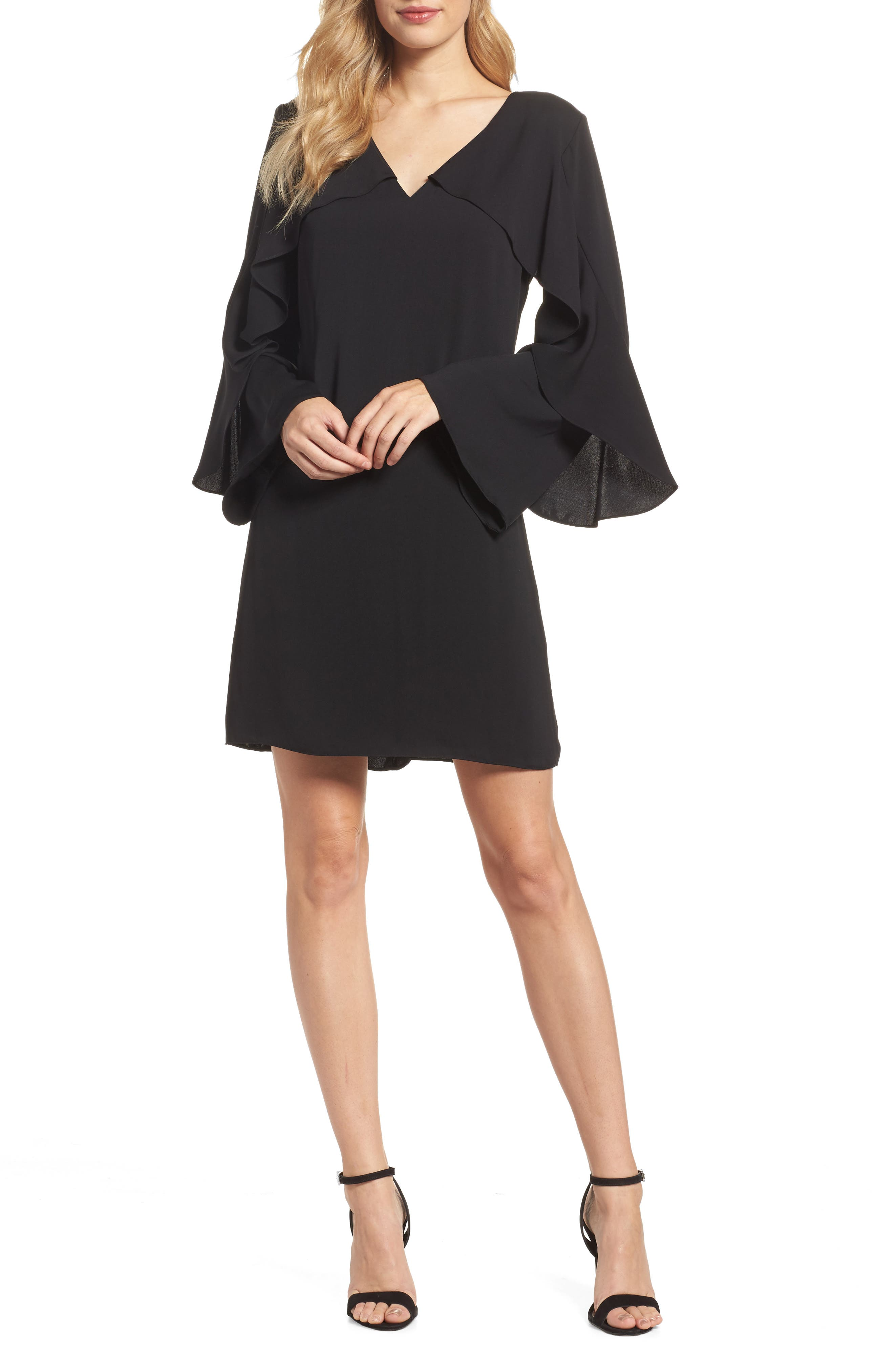 Sherryl Ruffle Sleeve Shift Dress,                             Main thumbnail 1, color,                             Black
