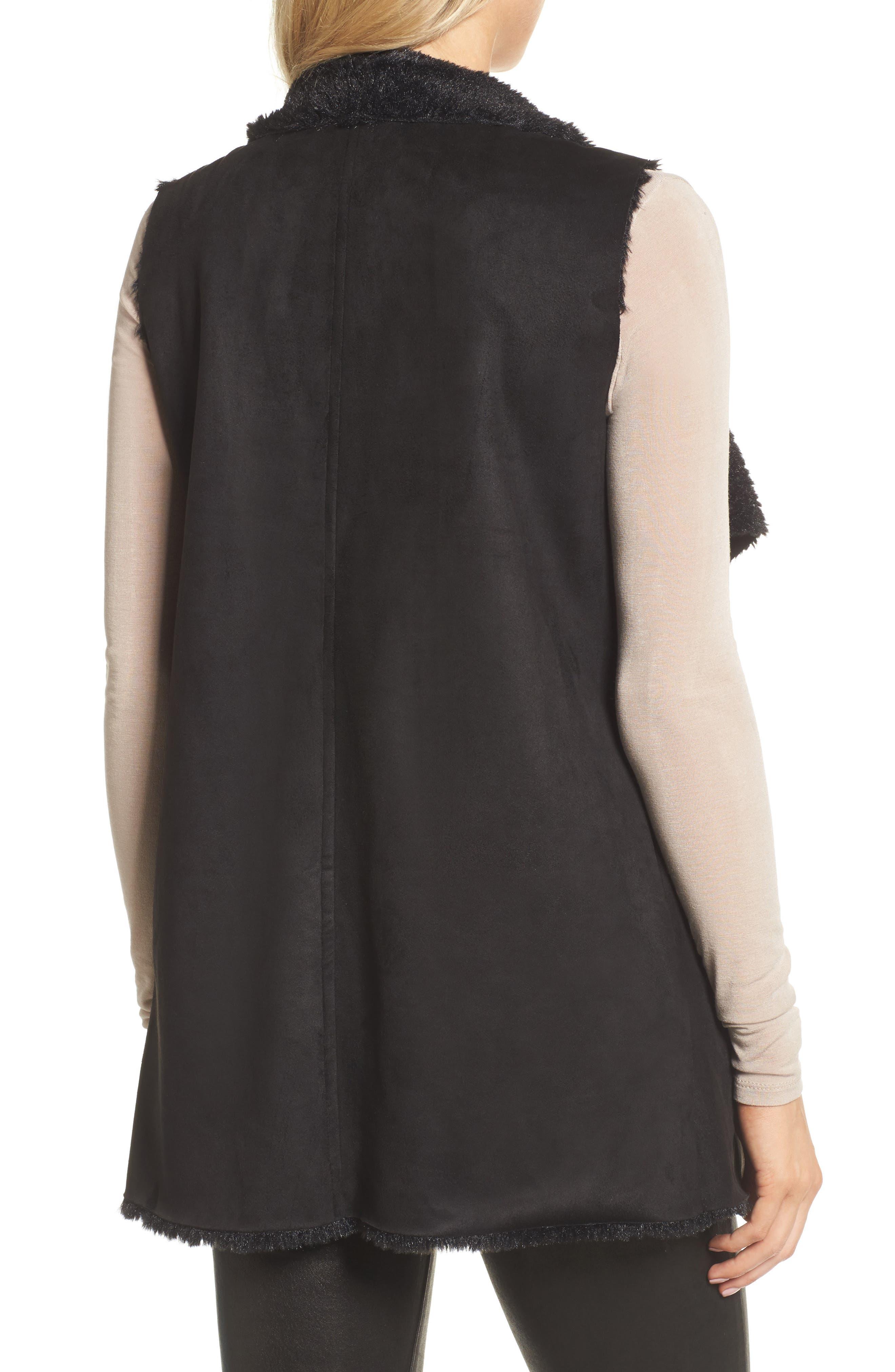 Avalonia Faux Shearling Vest,                             Alternate thumbnail 2, color,                             Black