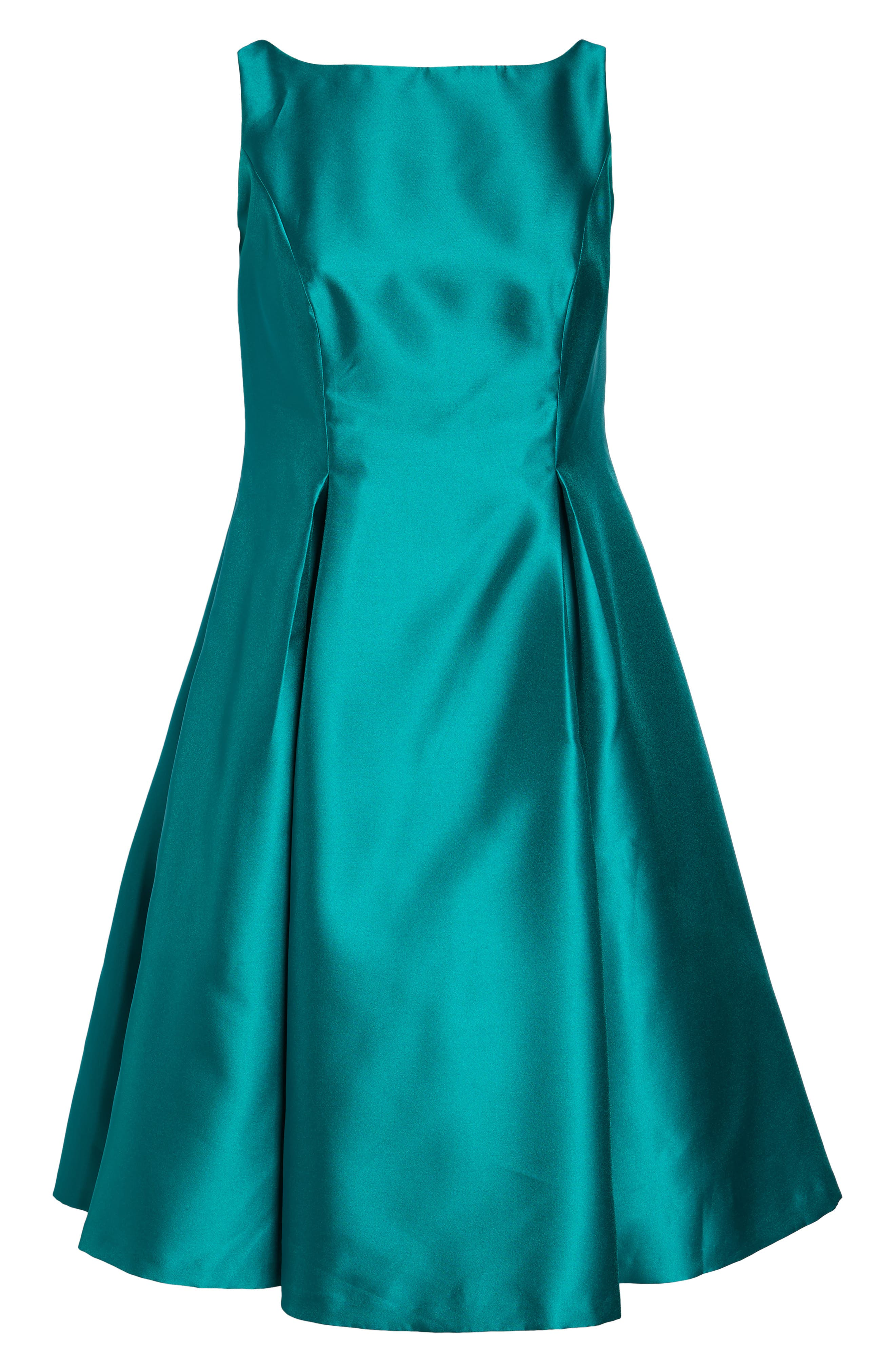 Sleeveless Mikado Fit & Flare Midi Dress,                             Alternate thumbnail 6, color,                             Vivid Malachite