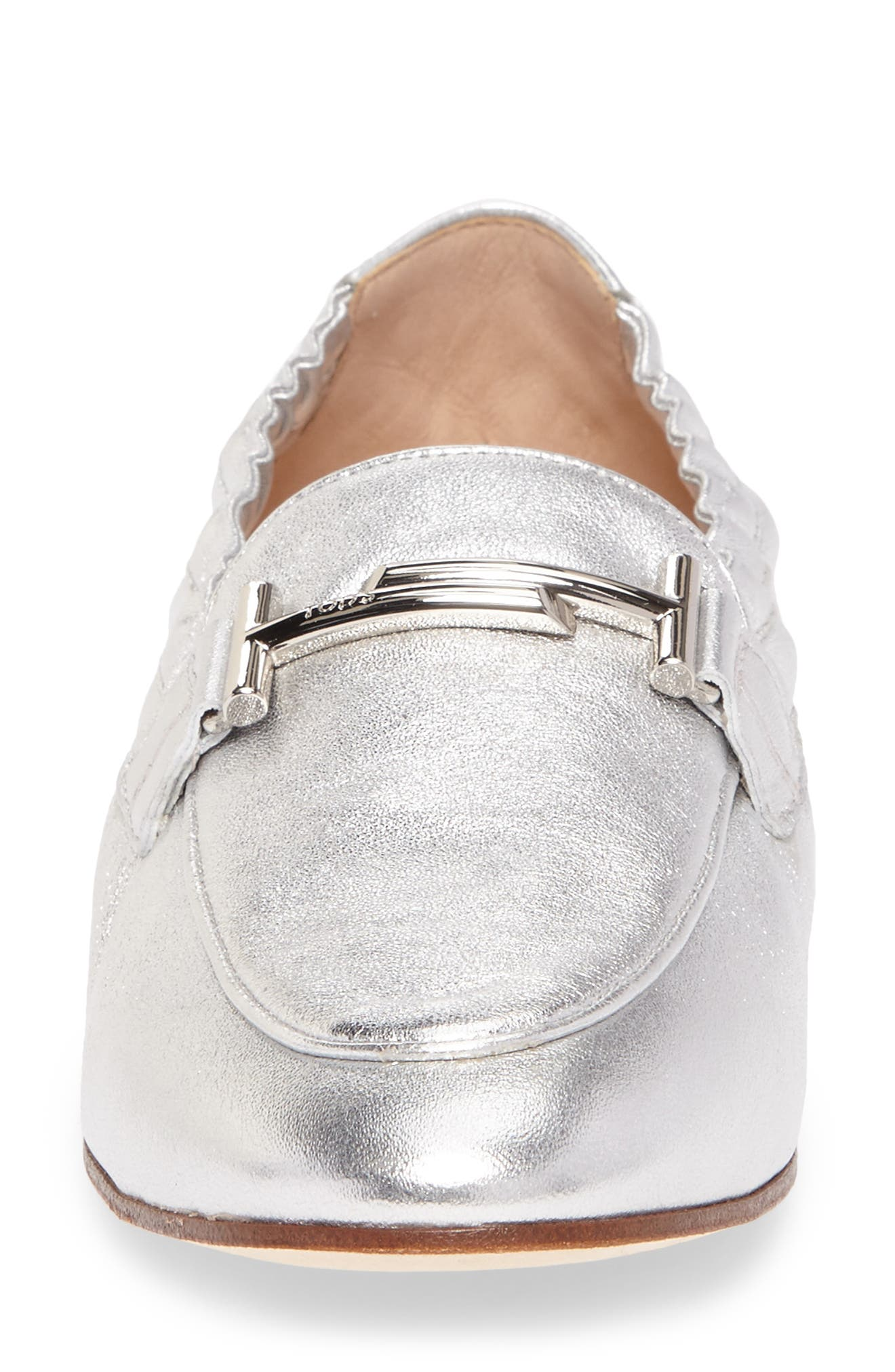 Double T Scrunch Loafer,                             Alternate thumbnail 4, color,                             Silver