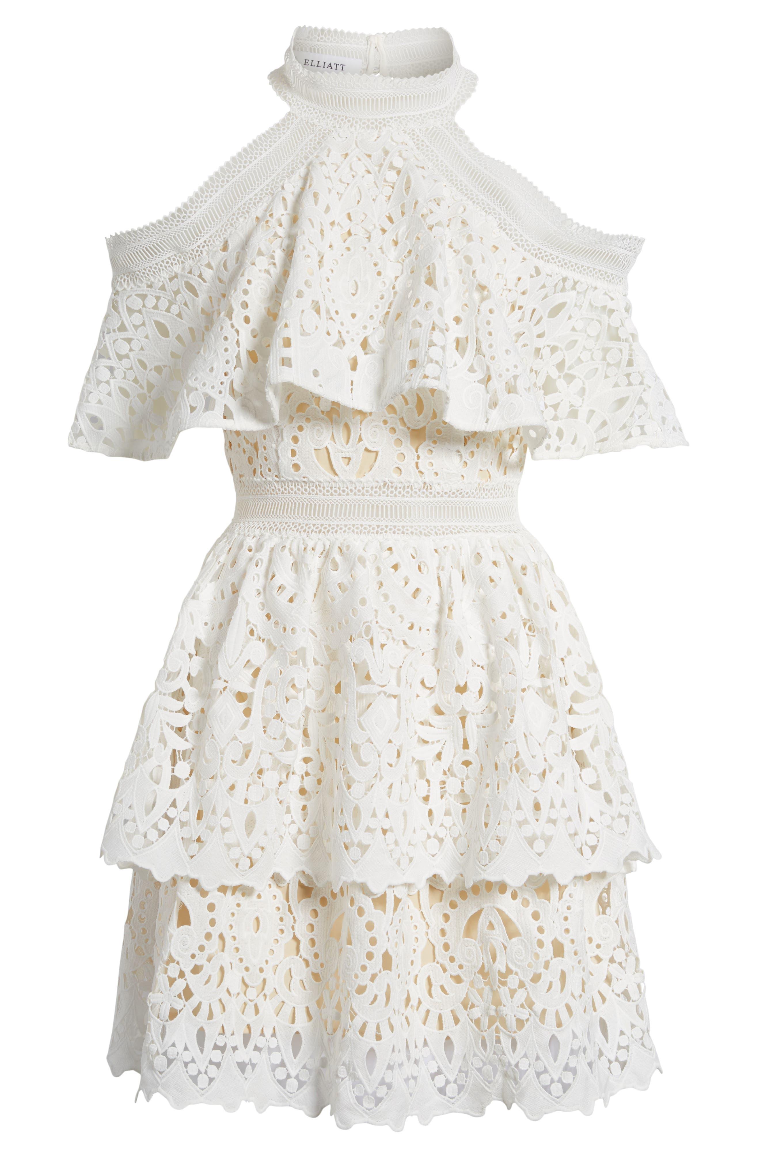 Saint Cloud Cold Shoulder Ruffle Dress,                             Alternate thumbnail 6, color,                             White