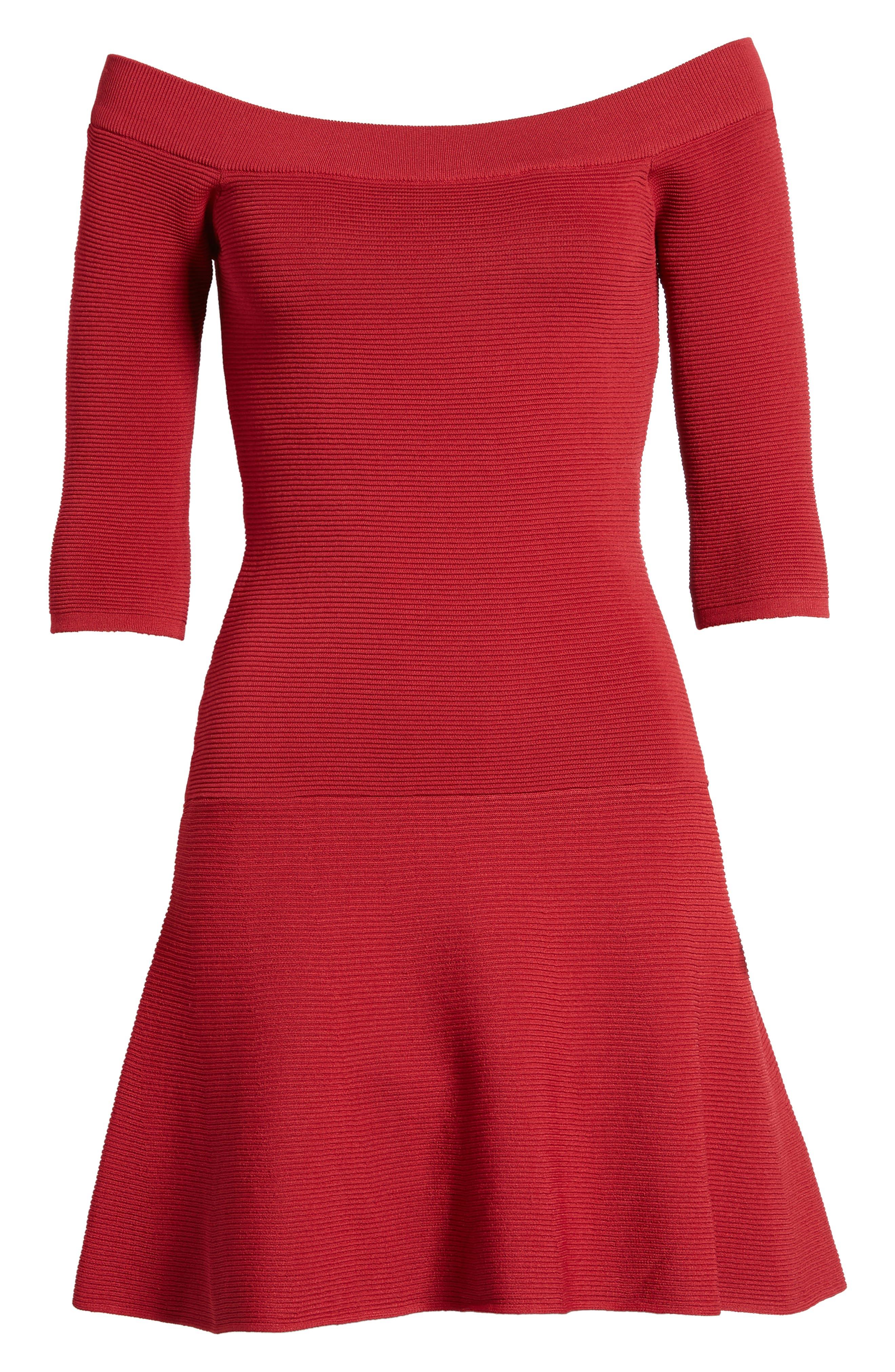 Whitley Off the Shoulder Dress,                             Alternate thumbnail 6, color,                             Crimson