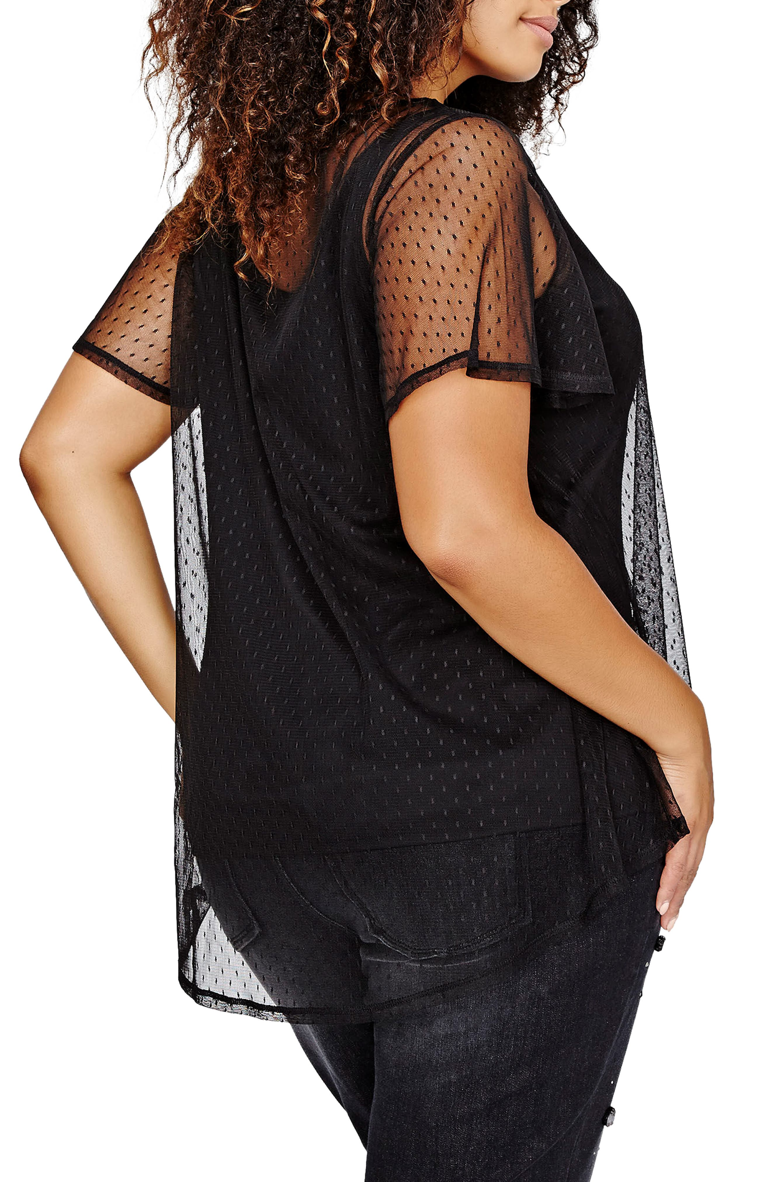 Alternate Image 2  - MICHEL STUDIO Mesh Dot Top (Plus Size)