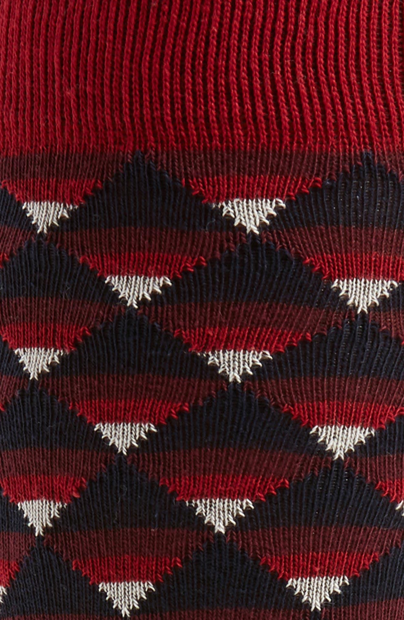 Geo Pattern Socks,                             Alternate thumbnail 2, color,                             Dark Red