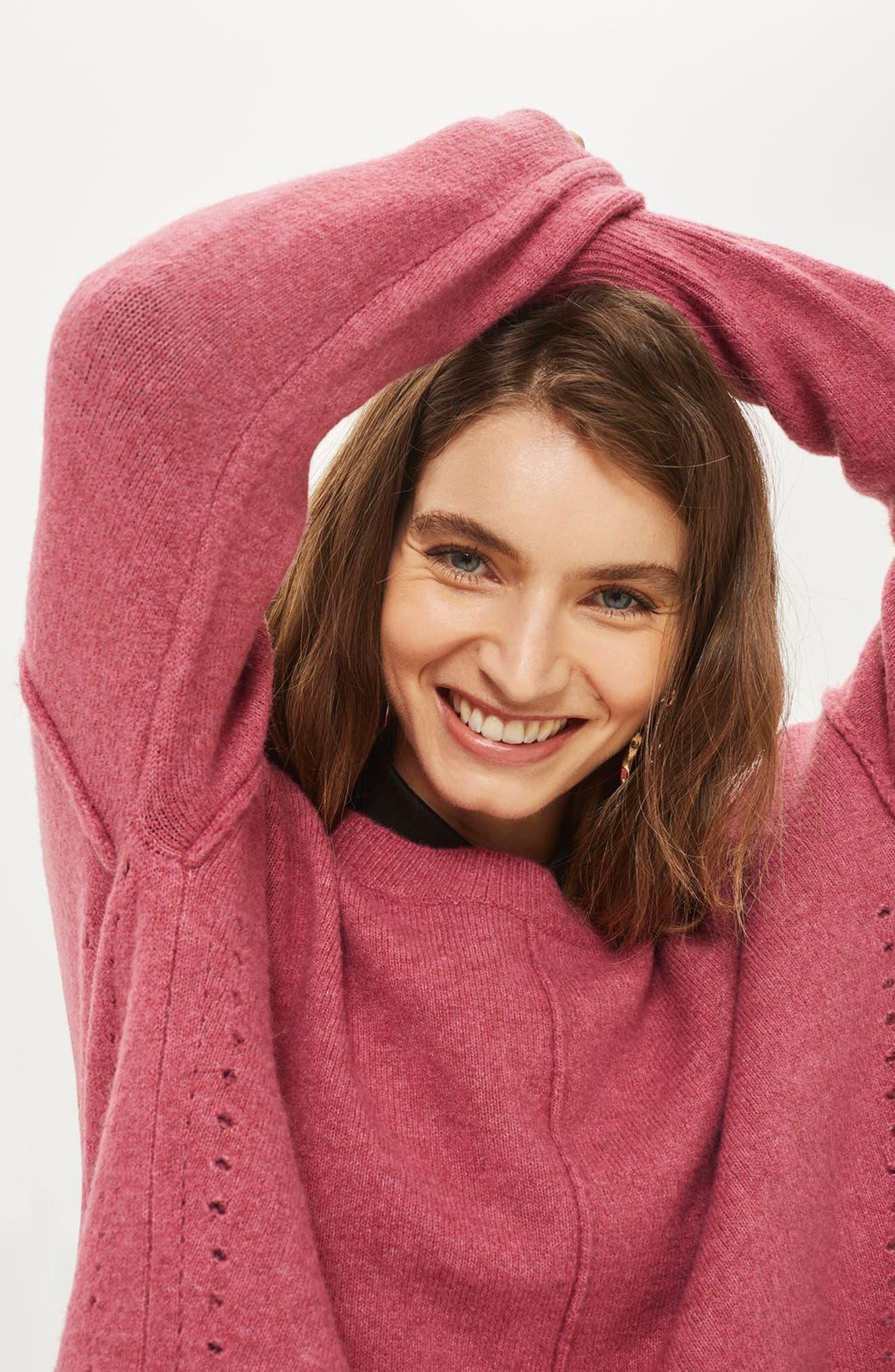 Alternate Image 2  - Topshop Pointelle Detail Sweater (Regular & Petite)