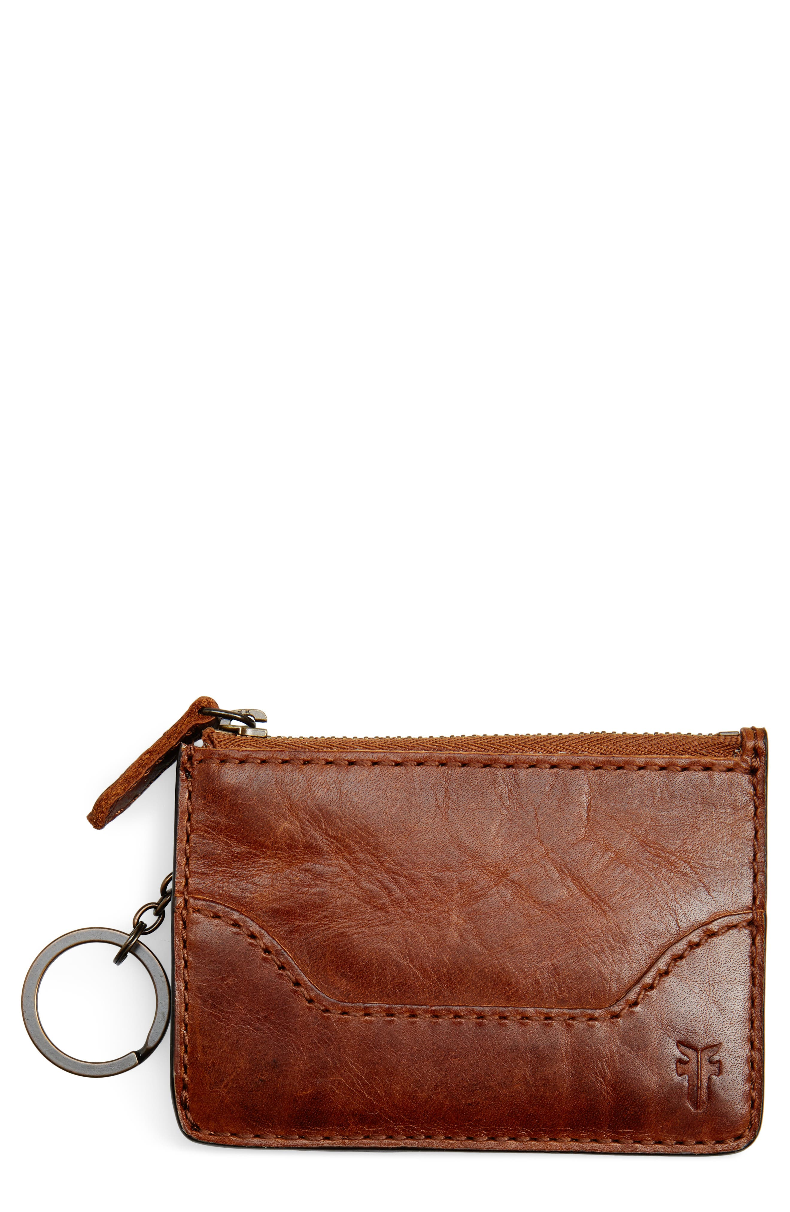 Melissa Leather Card Holder with Key Ring,                             Main thumbnail 1, color,                             Cognac