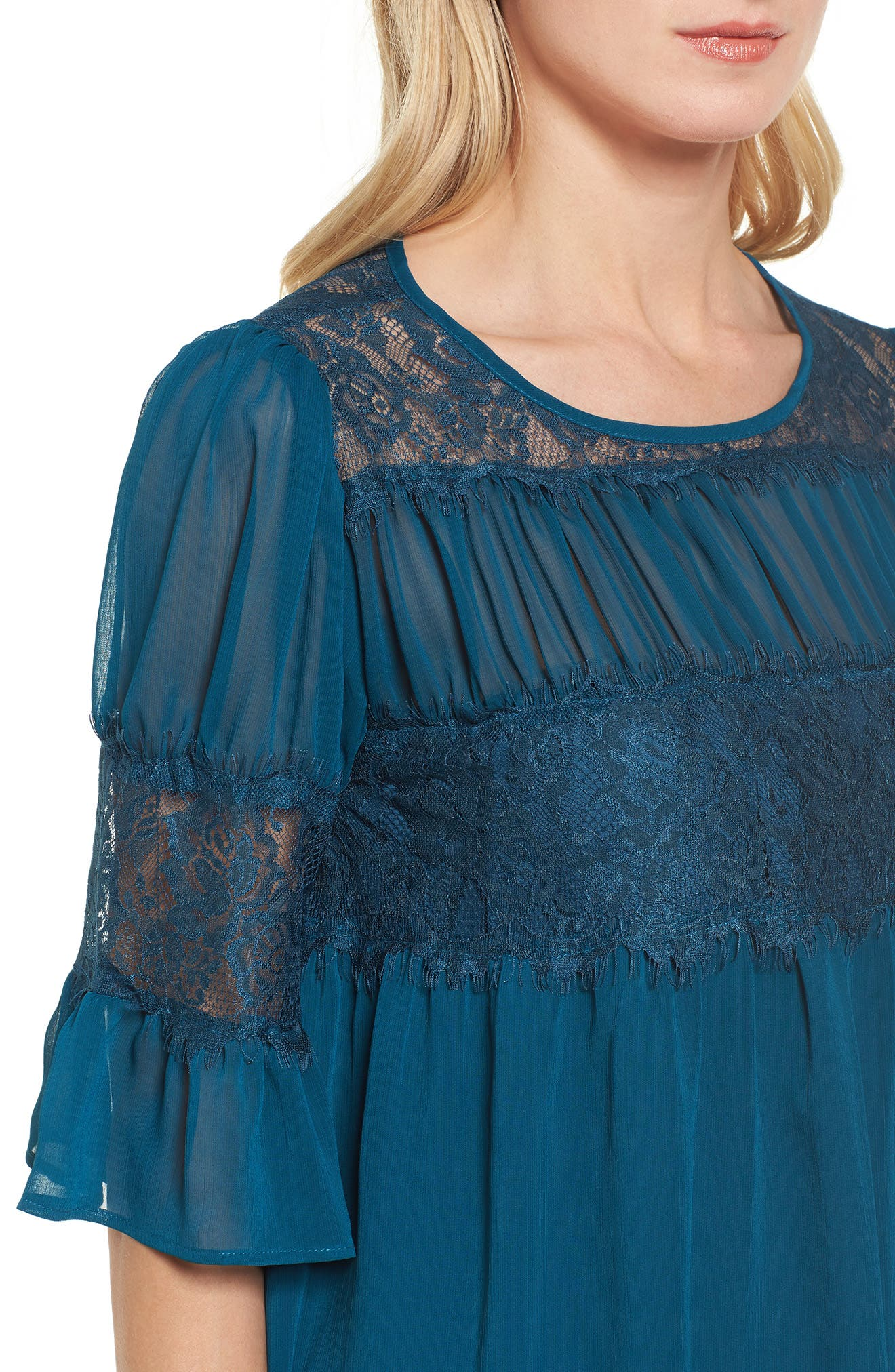 Alternate Image 4  - Halogen® Lace Panel Pleated Blouse