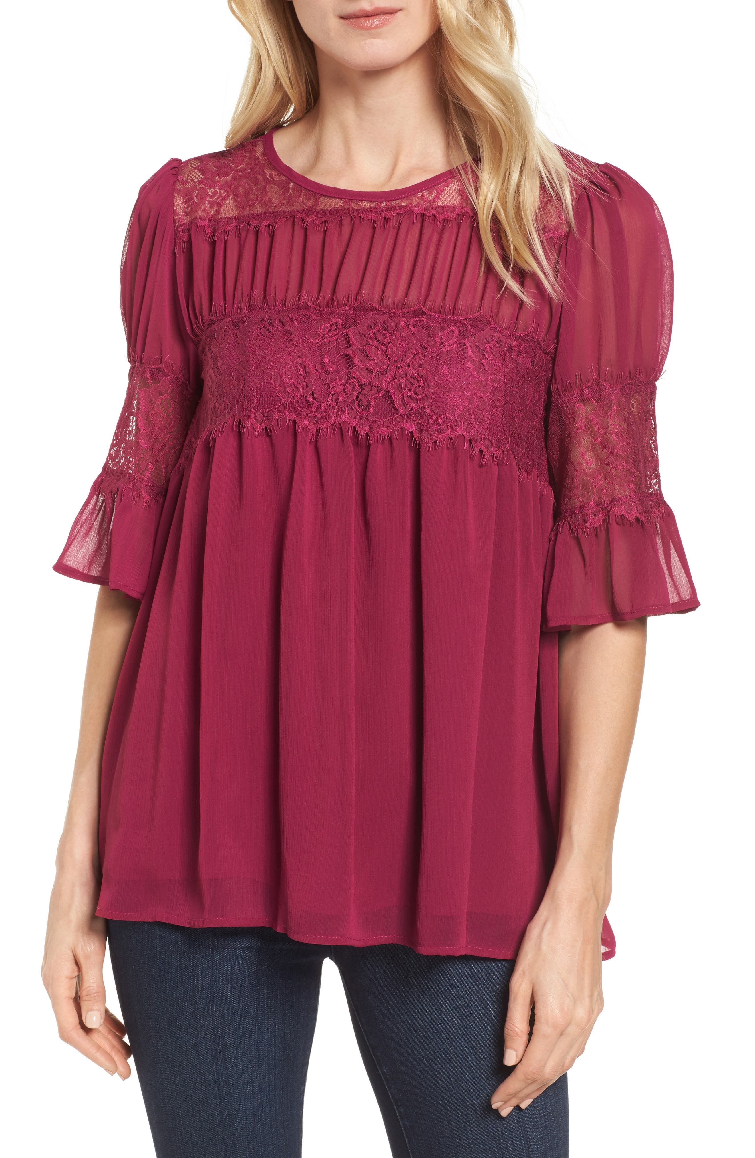 Halogen® Lace Panel Pleated Blouse
