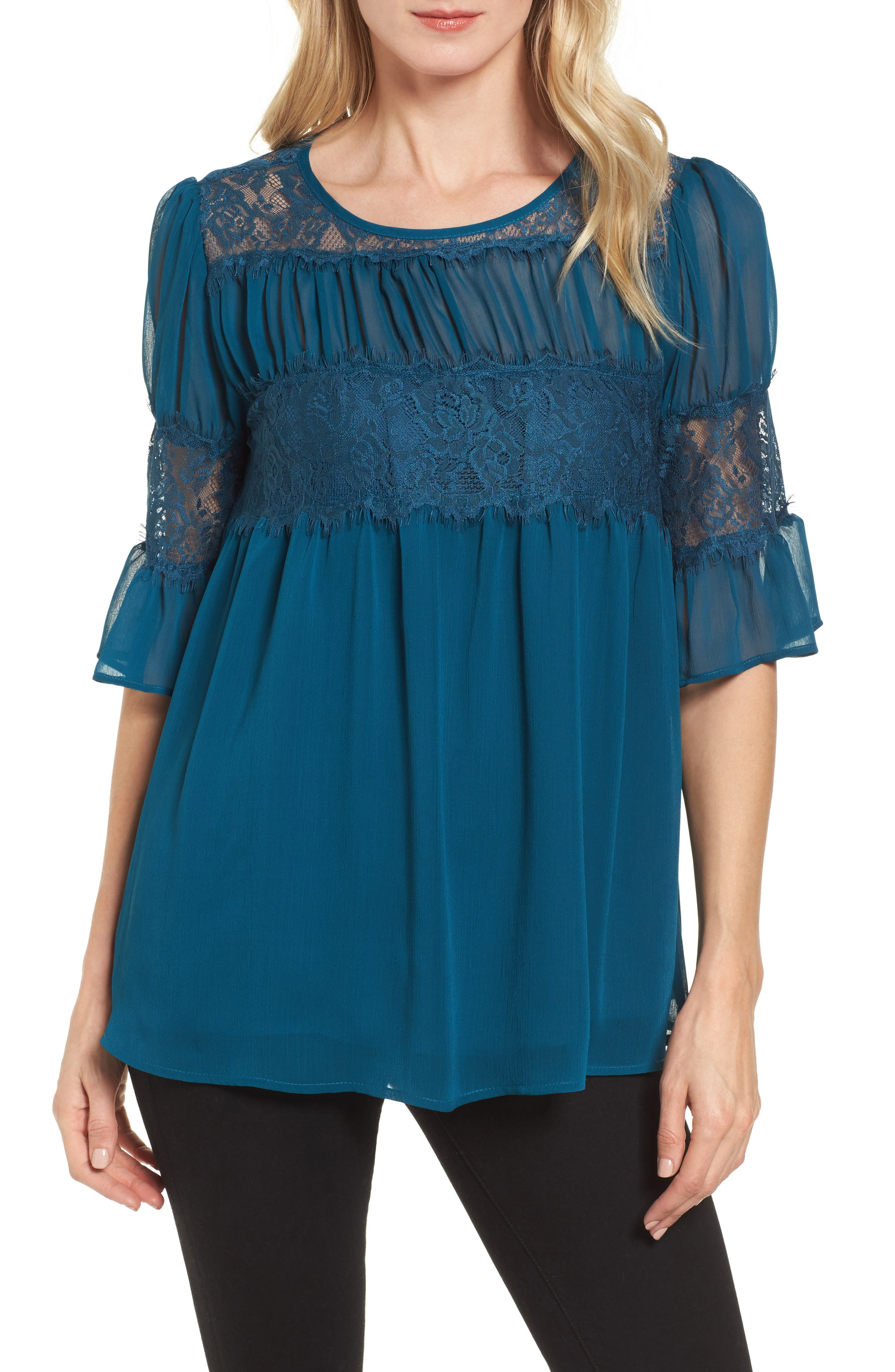 Lace Panel Pleated Blouse,                         Main,                         color, Teal