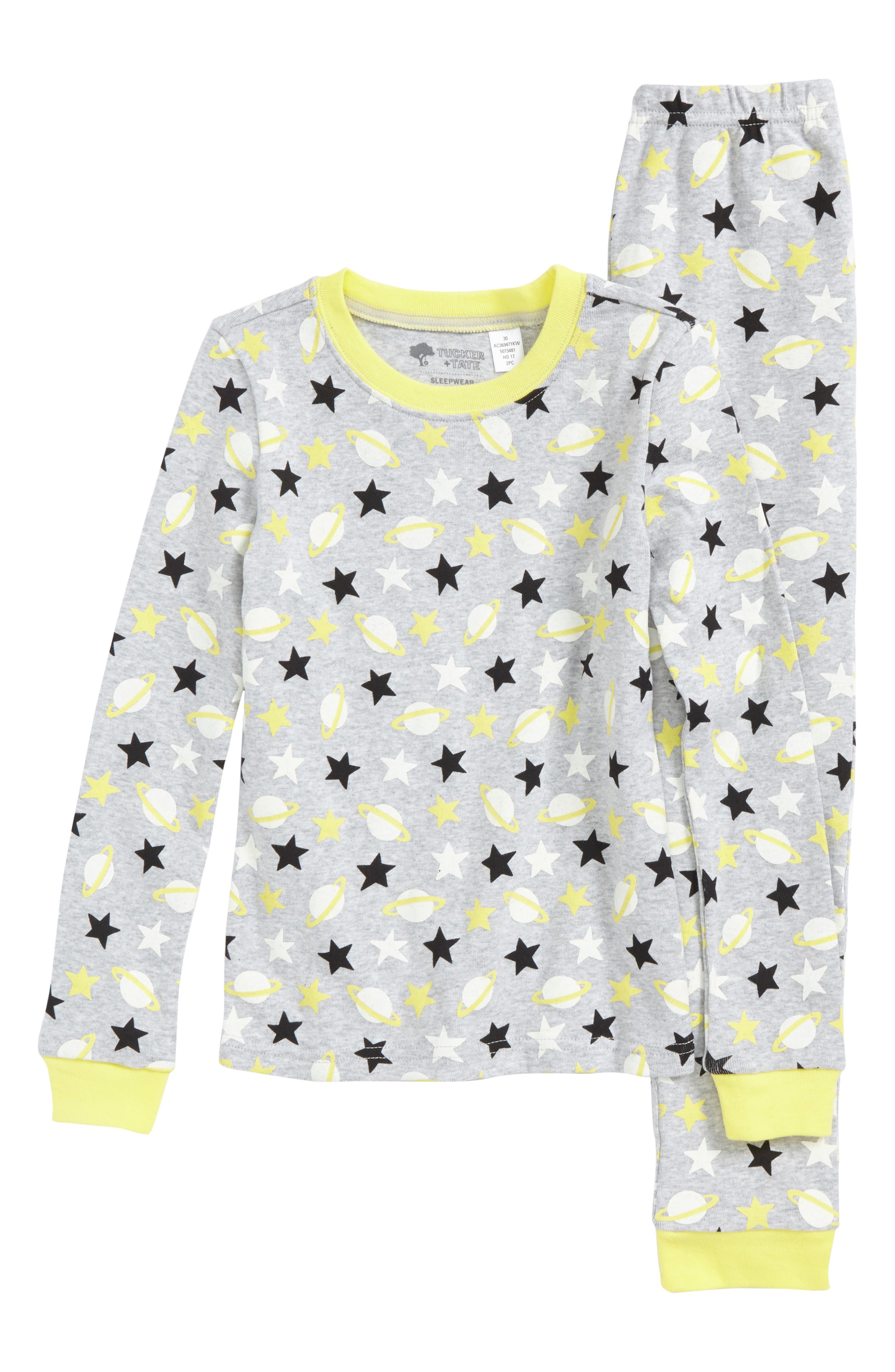 Tucker + Tate Glow In The Dark Two-Piece Fitted Pajamas (Toddler Girls, Little Girls & Big Girls)
