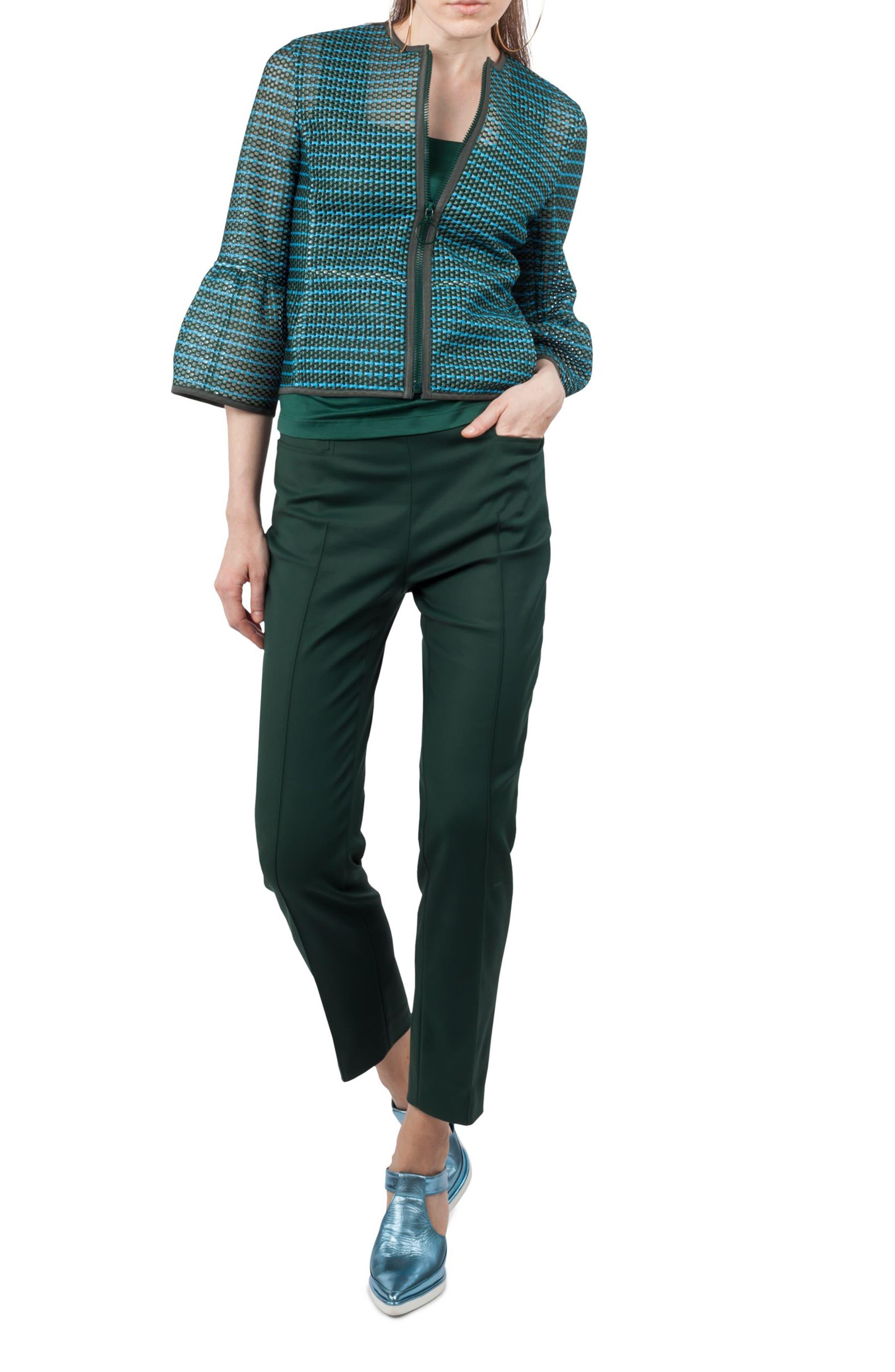 Stripe Mesh Jacket,                             Alternate thumbnail 3, color,                             Palm Leaf / Turquoise