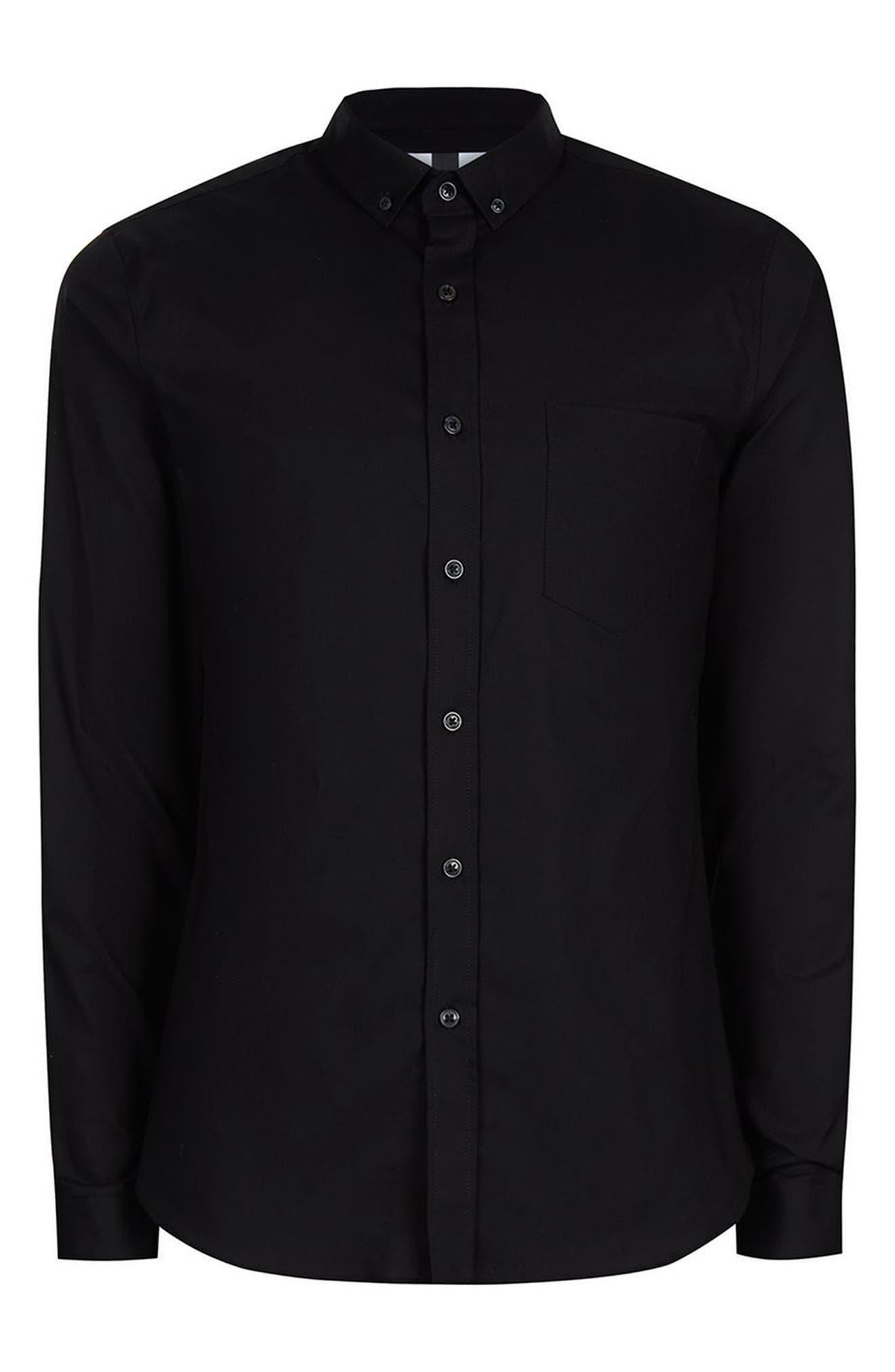 Muscle Fit Oxford Shirt,                             Alternate thumbnail 4, color,                             Black