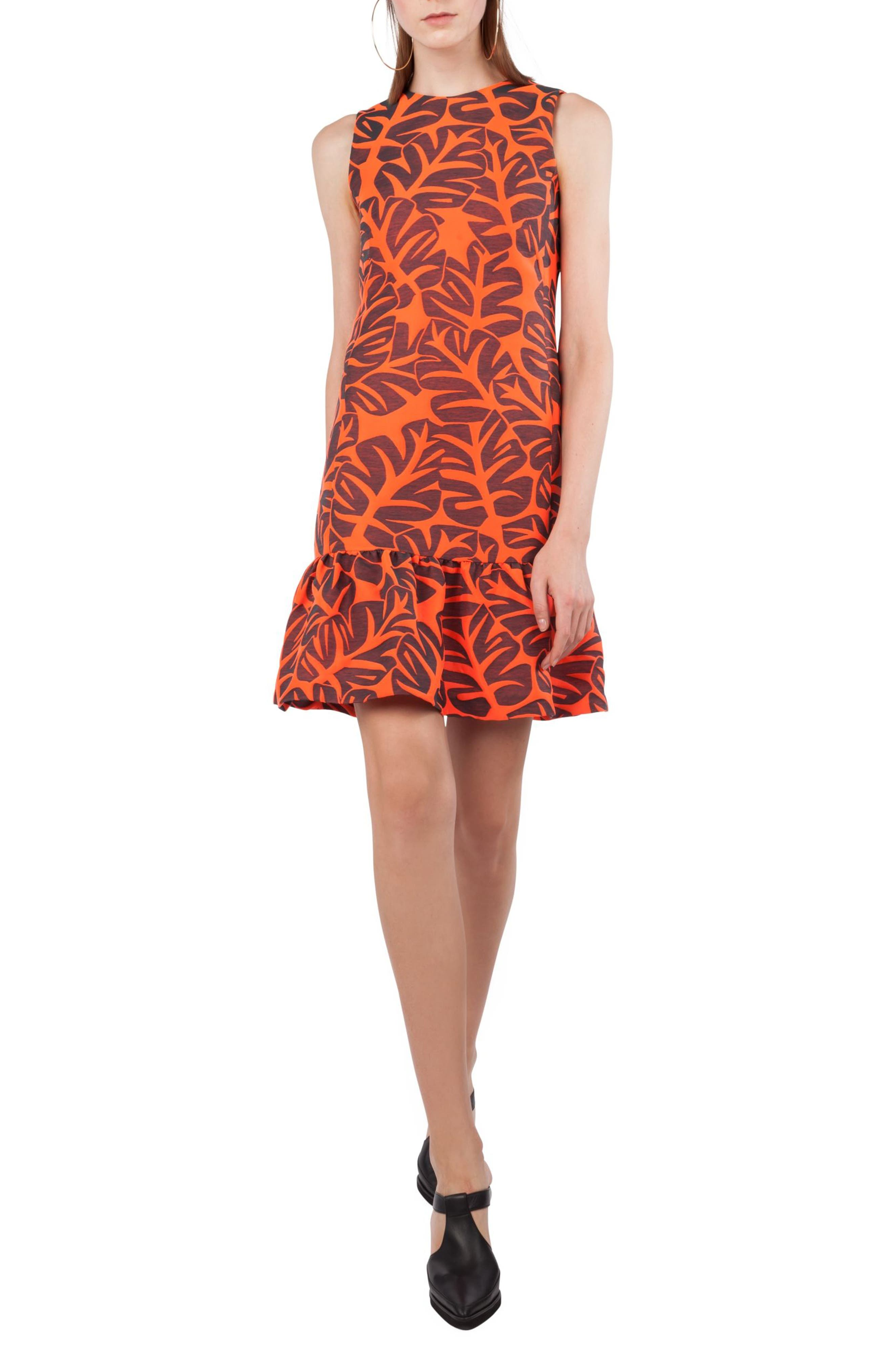 Tropical Leaf Jacquard Shift Dress,                             Main thumbnail 1, color,                             Papaya / Avocado