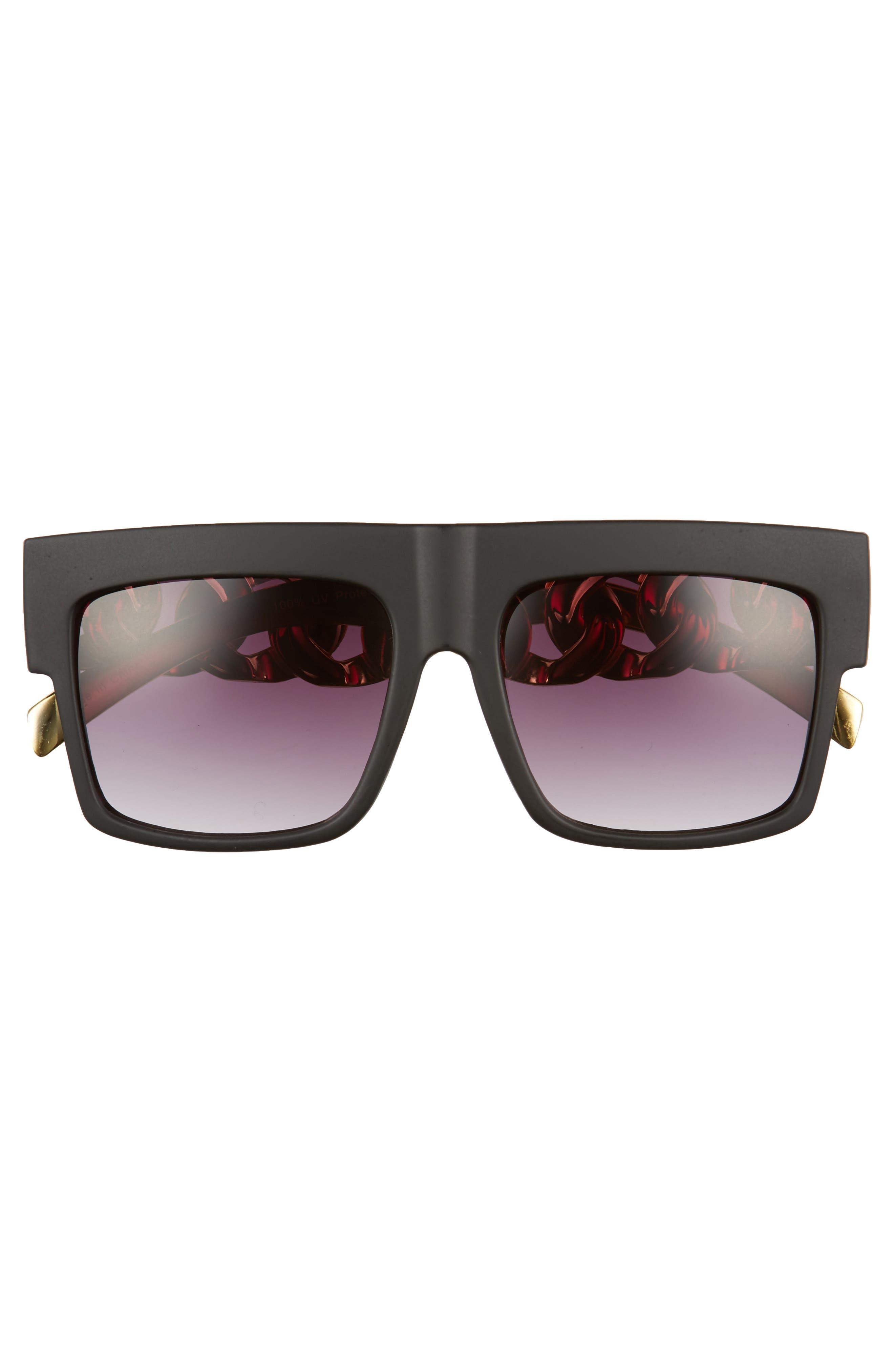 52mm Chain Detail Shield Sunglasses,                             Alternate thumbnail 3, color,                             Black/ Gold