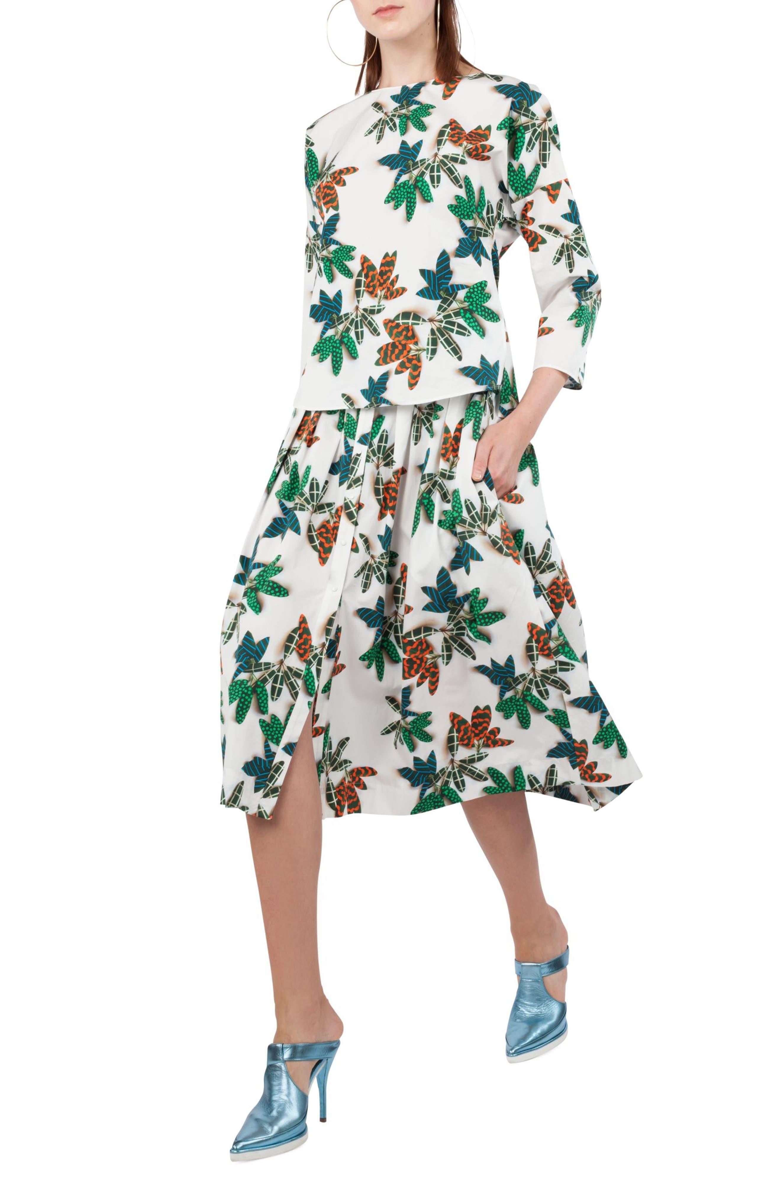 Alternate Image 5  - Akris punto Tropical Print Cotton Midi Skirt