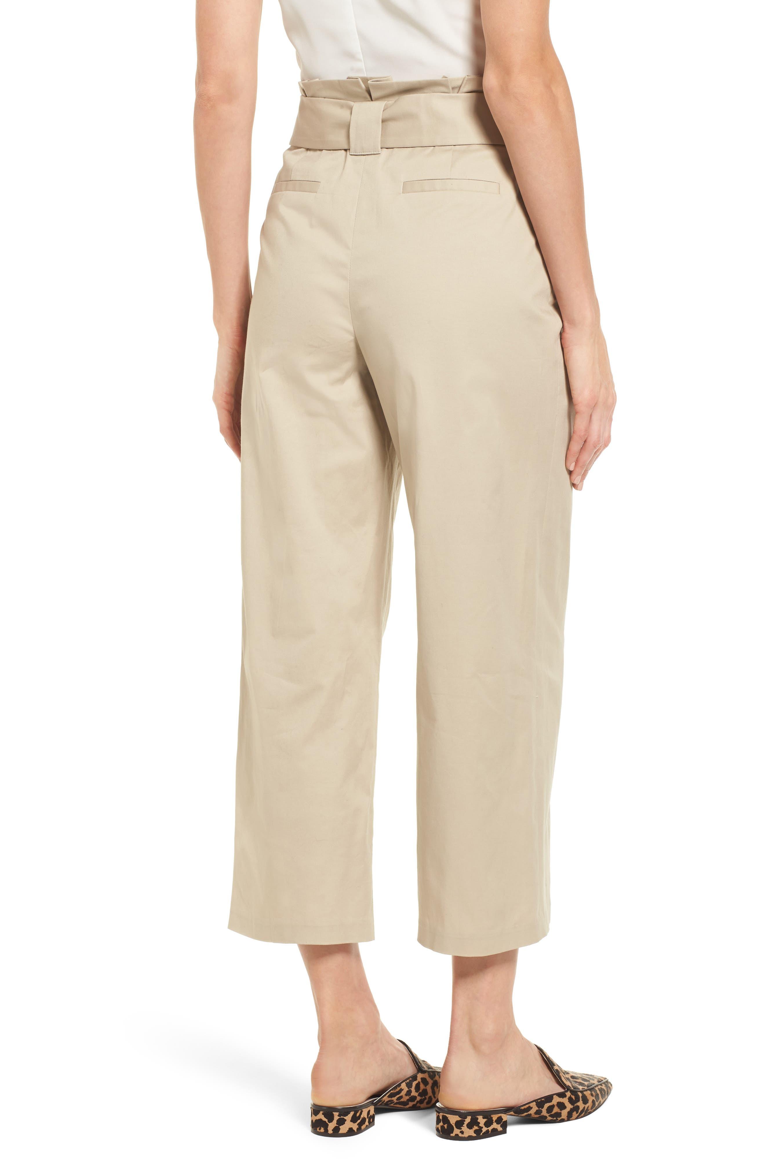 Paperbag Waist Belted Wide Leg Crop Pants,                             Alternate thumbnail 2, color,                             Tan Oxford