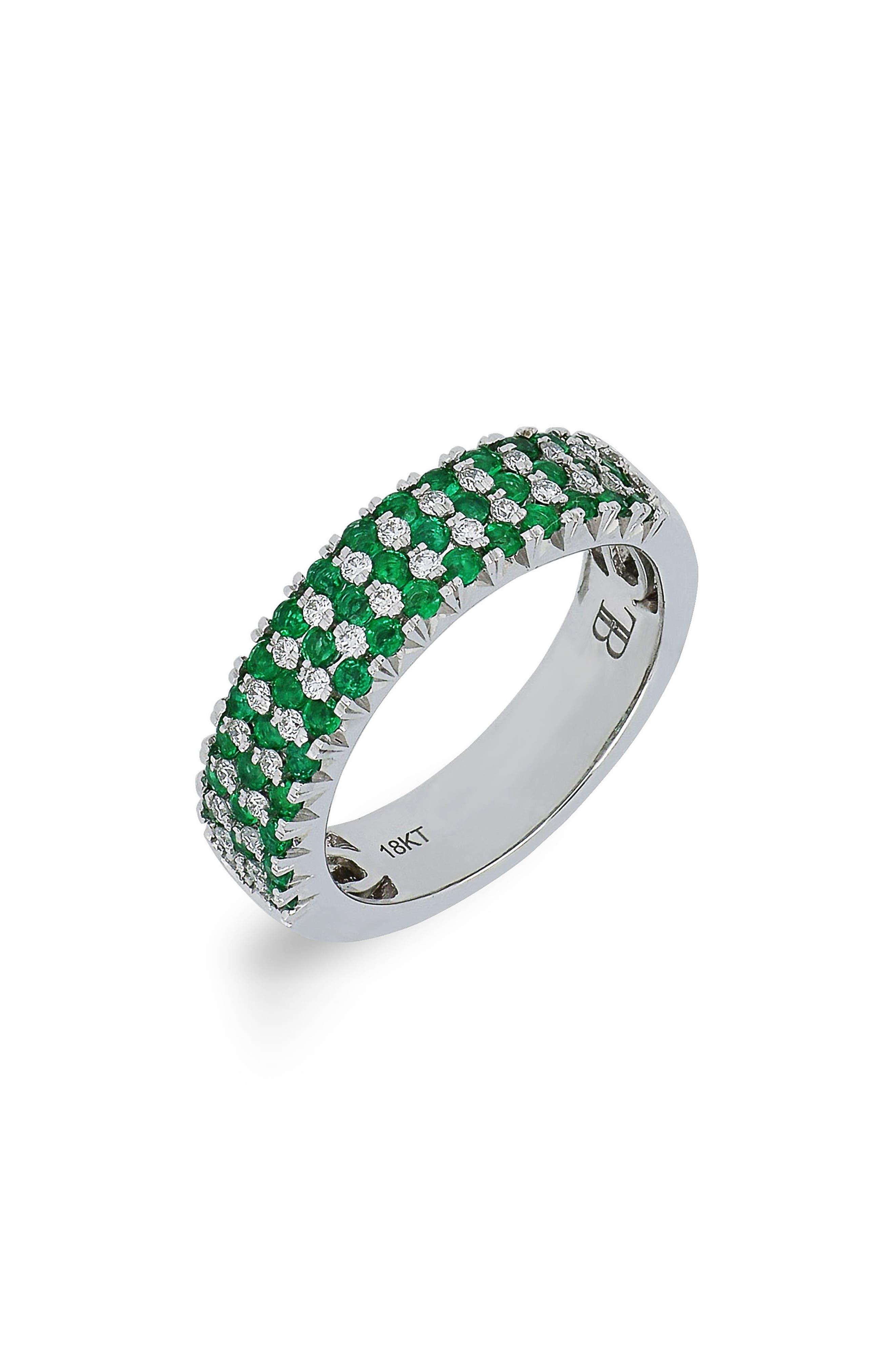 Emerald & Diamond Ring,                             Main thumbnail 1, color,                             White Gold