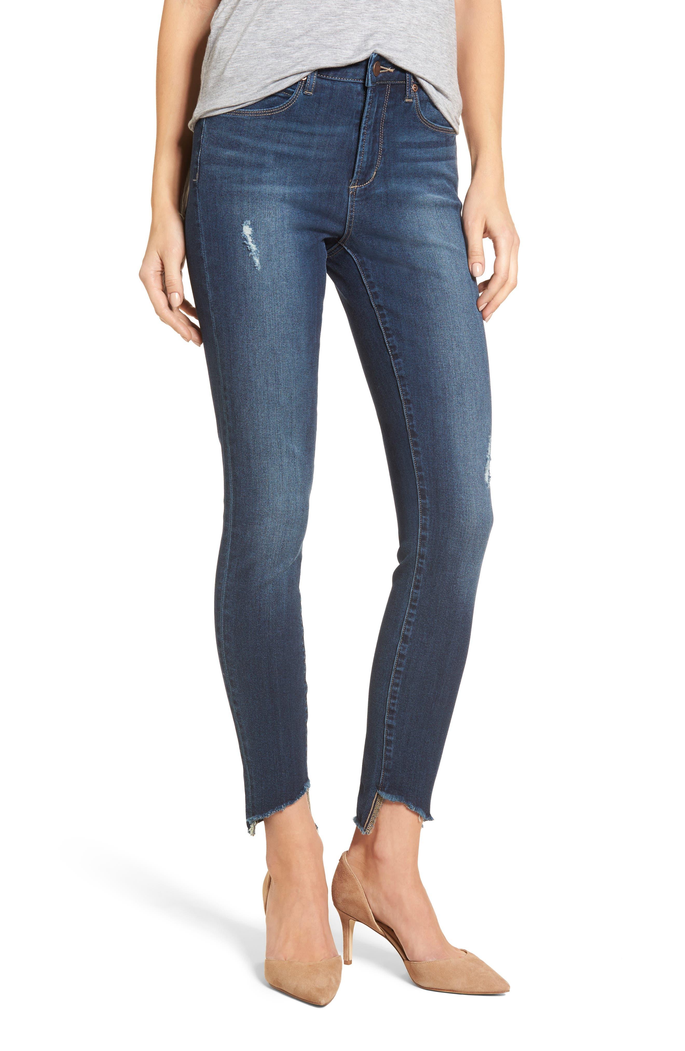 Diagonal Ripped Step Skinny Jeans,                         Main,                         color, Dark Wash